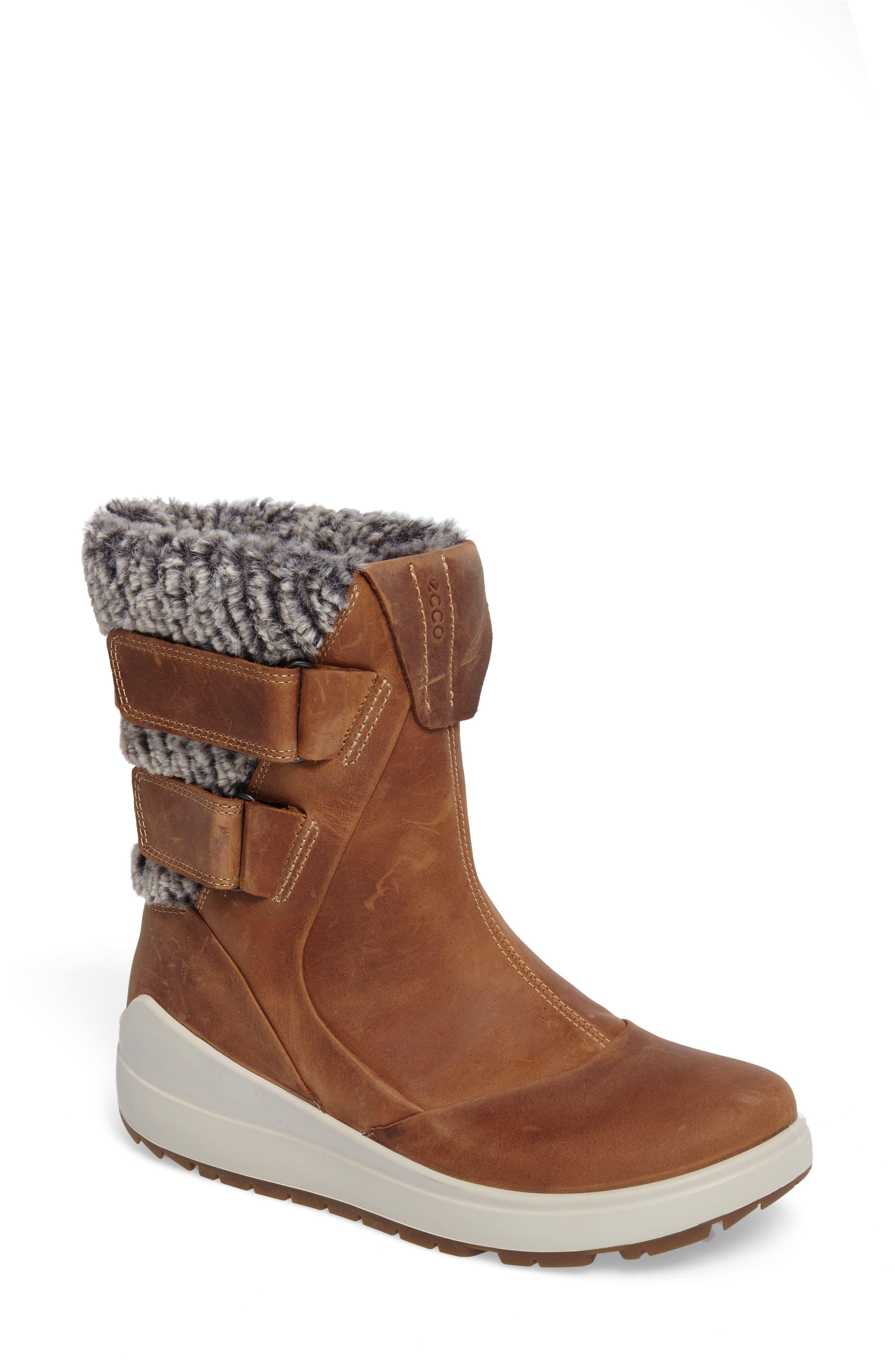 Ecco Noyce Water-Resistant Fleece Boot, Brown