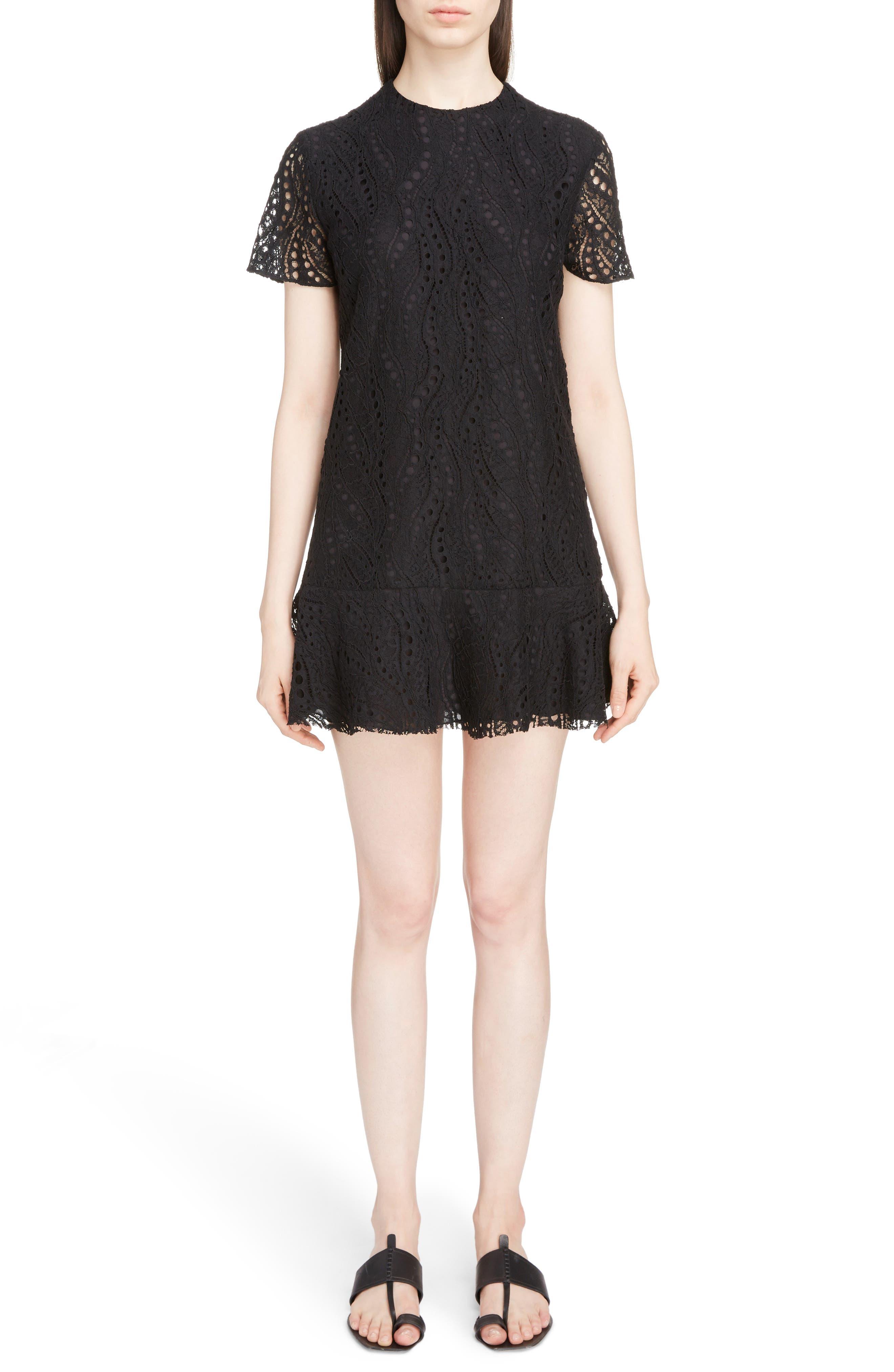 Lace Ruffle Hem Dress,                             Main thumbnail 1, color,