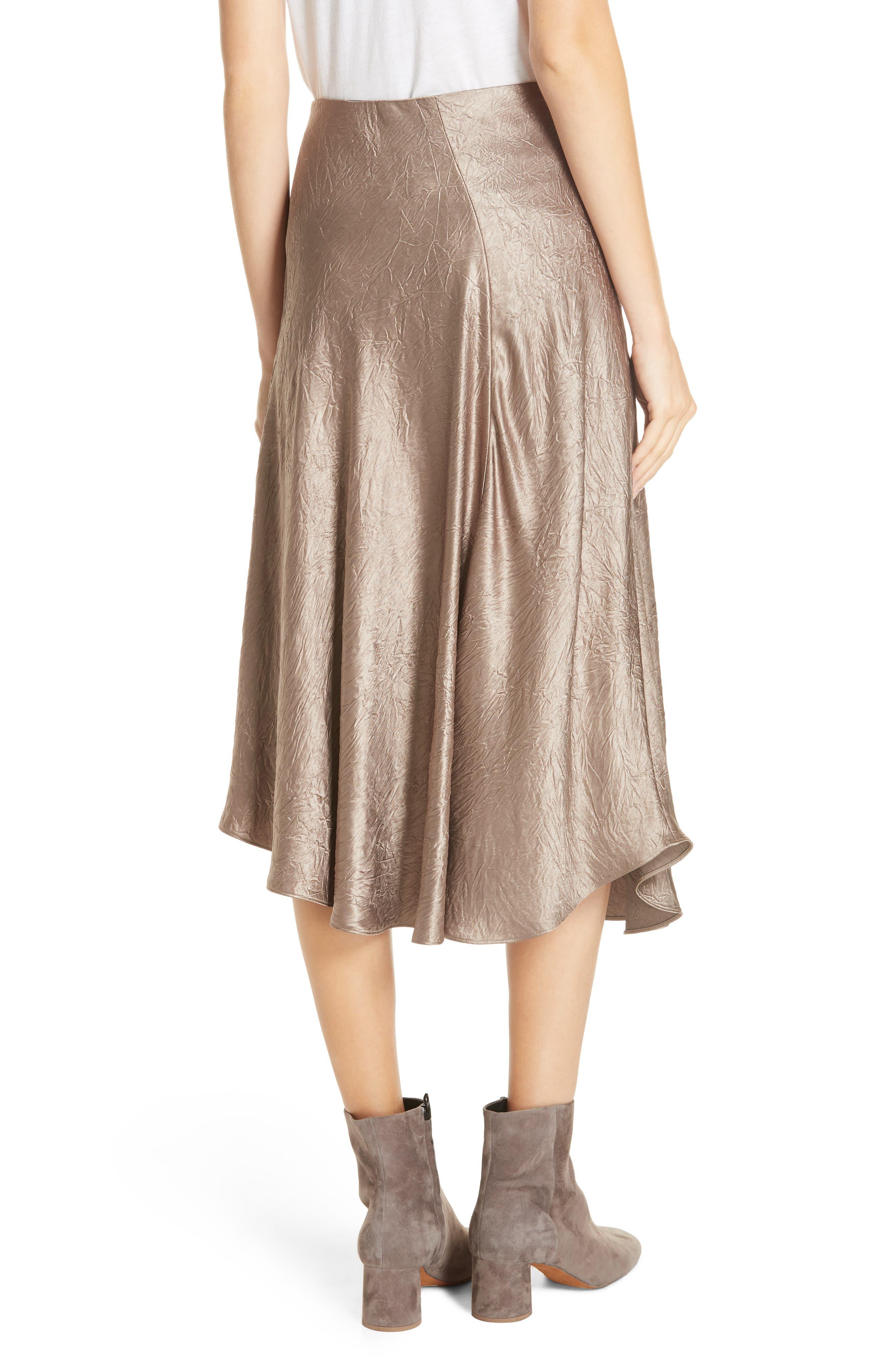 Asymmetrical Crinkled Satin Skirt,                             Alternate thumbnail 2, color,                             TAUPE