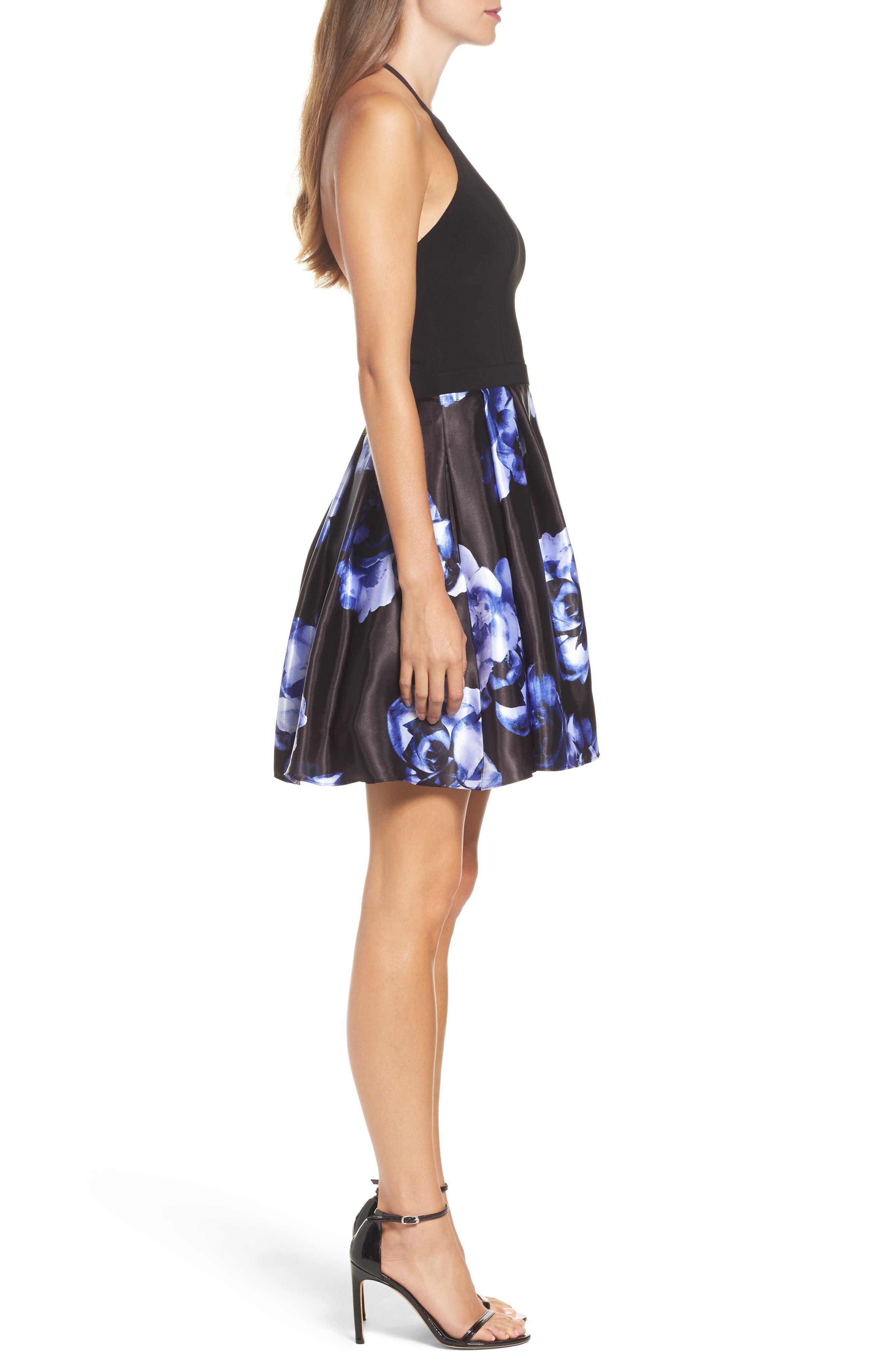 Floral Skirt Halter Skater Dress,                             Alternate thumbnail 3, color,