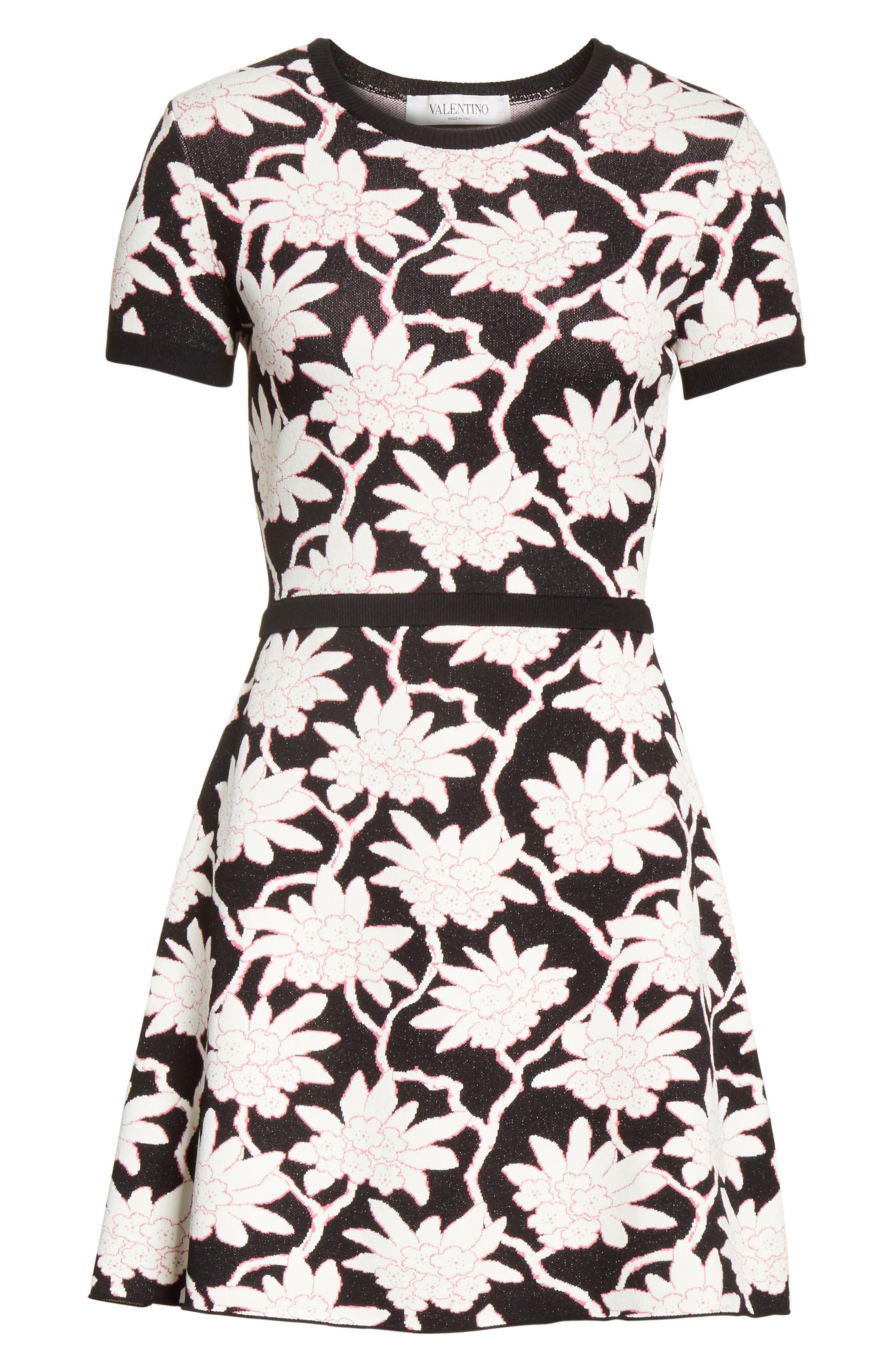Rhododendron Jacquard Dress,                             Alternate thumbnail 6, color,                             001