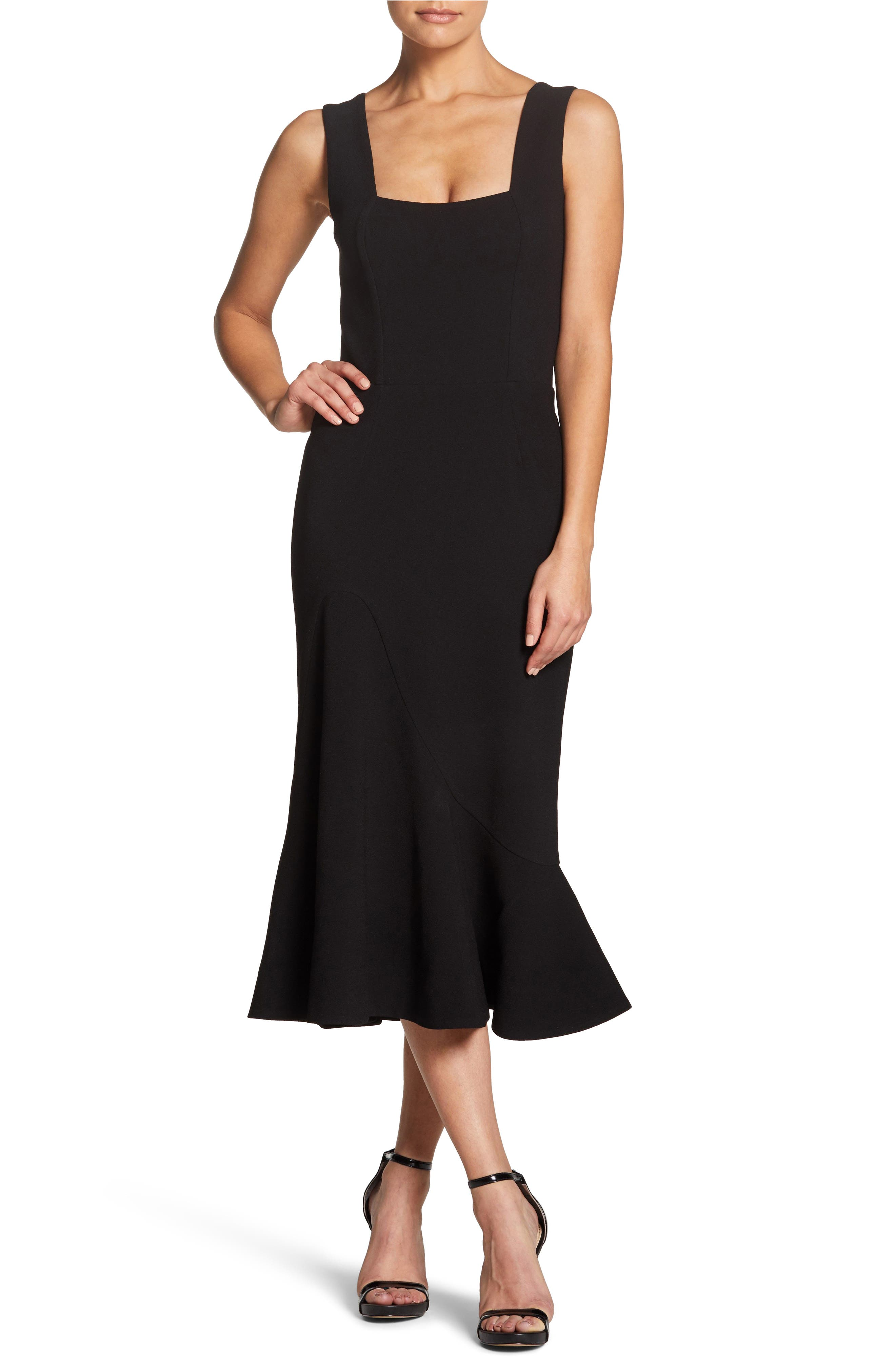 Monica Tea Length Trumpet Dress,                             Main thumbnail 1, color,                             BLACK