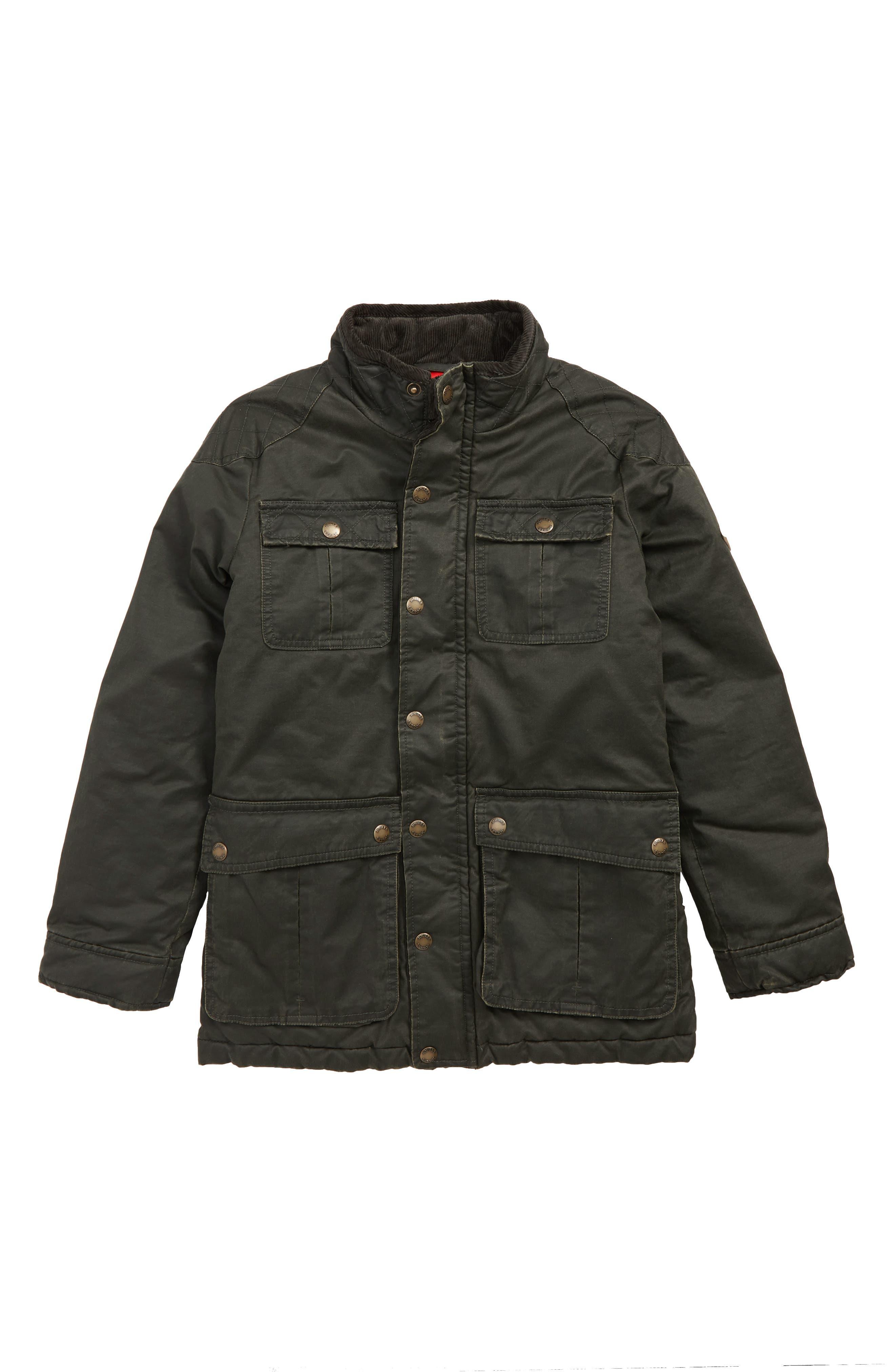 Barnham Faux Wax Jacket,                             Main thumbnail 1, color,                             EVERGLADE