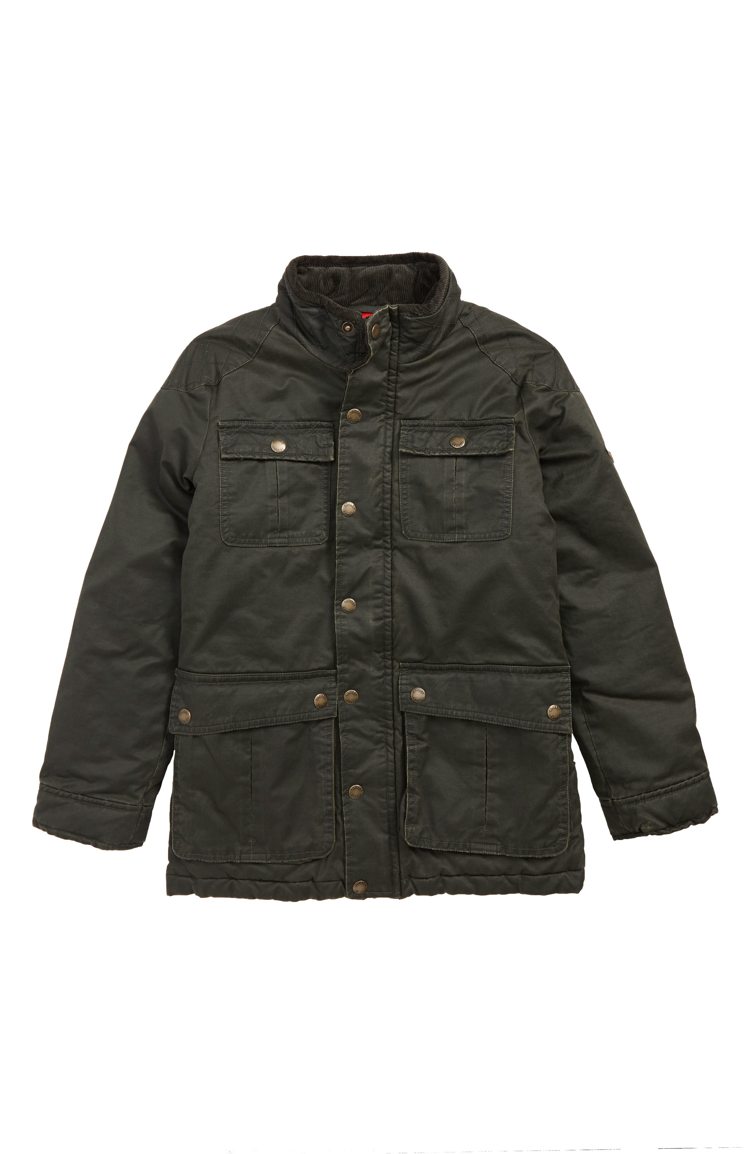 Barnham Faux Wax Jacket,                         Main,                         color, EVERGLADE