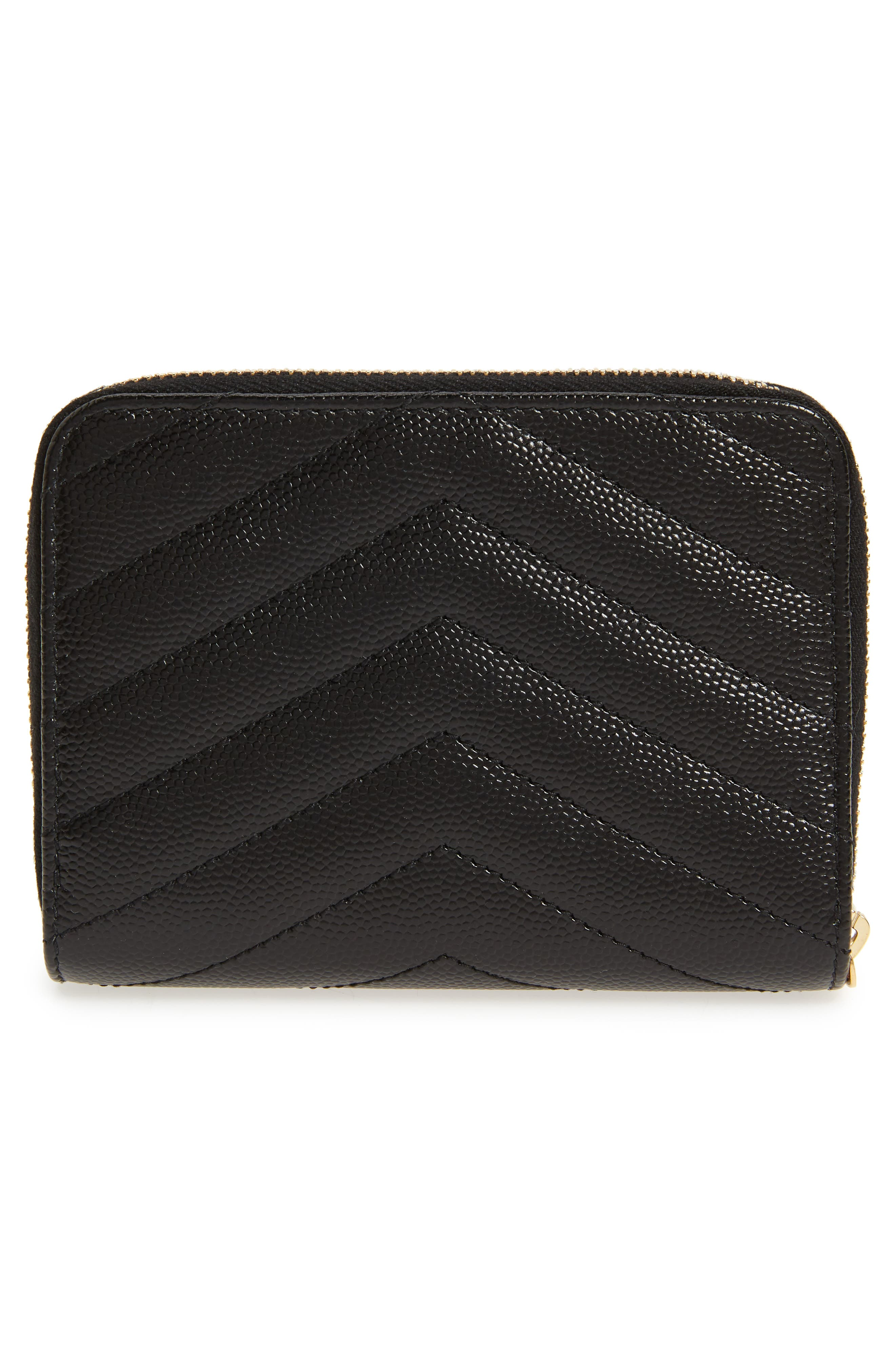 Monogramme Compact Quilted Zip Around Wallet,                             Alternate thumbnail 4, color,                             NOIR