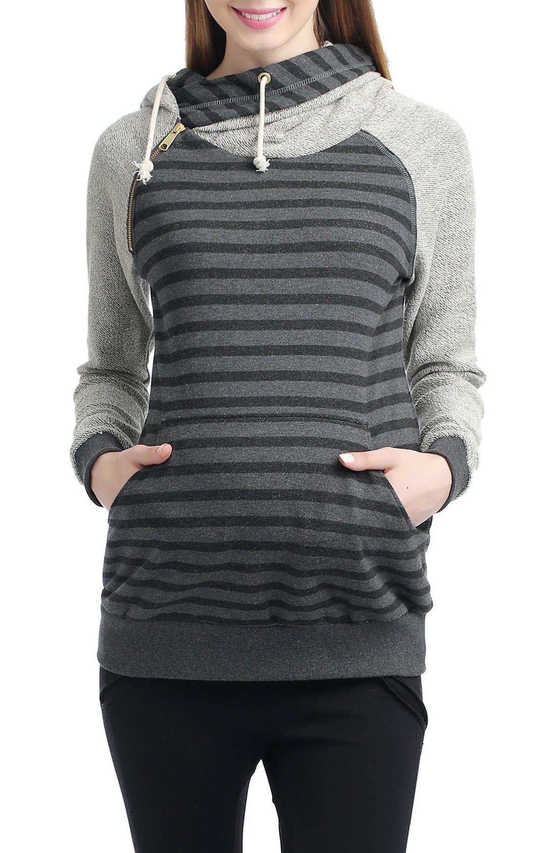 'Lana' Maternity Hoodie,                             Main thumbnail 1, color,                             BLACK/ DARK HEATHER GRAY