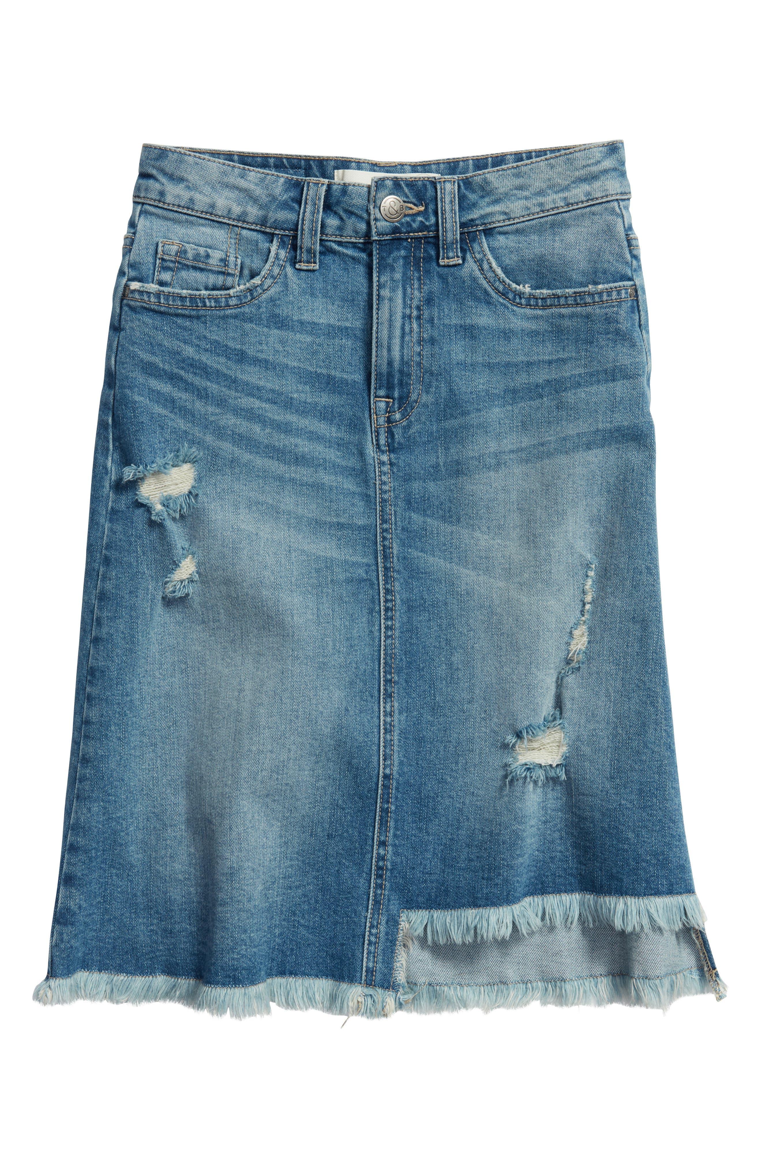 Step Hem Denim Skirt,                         Main,                         color, HIDEAWAY WASH