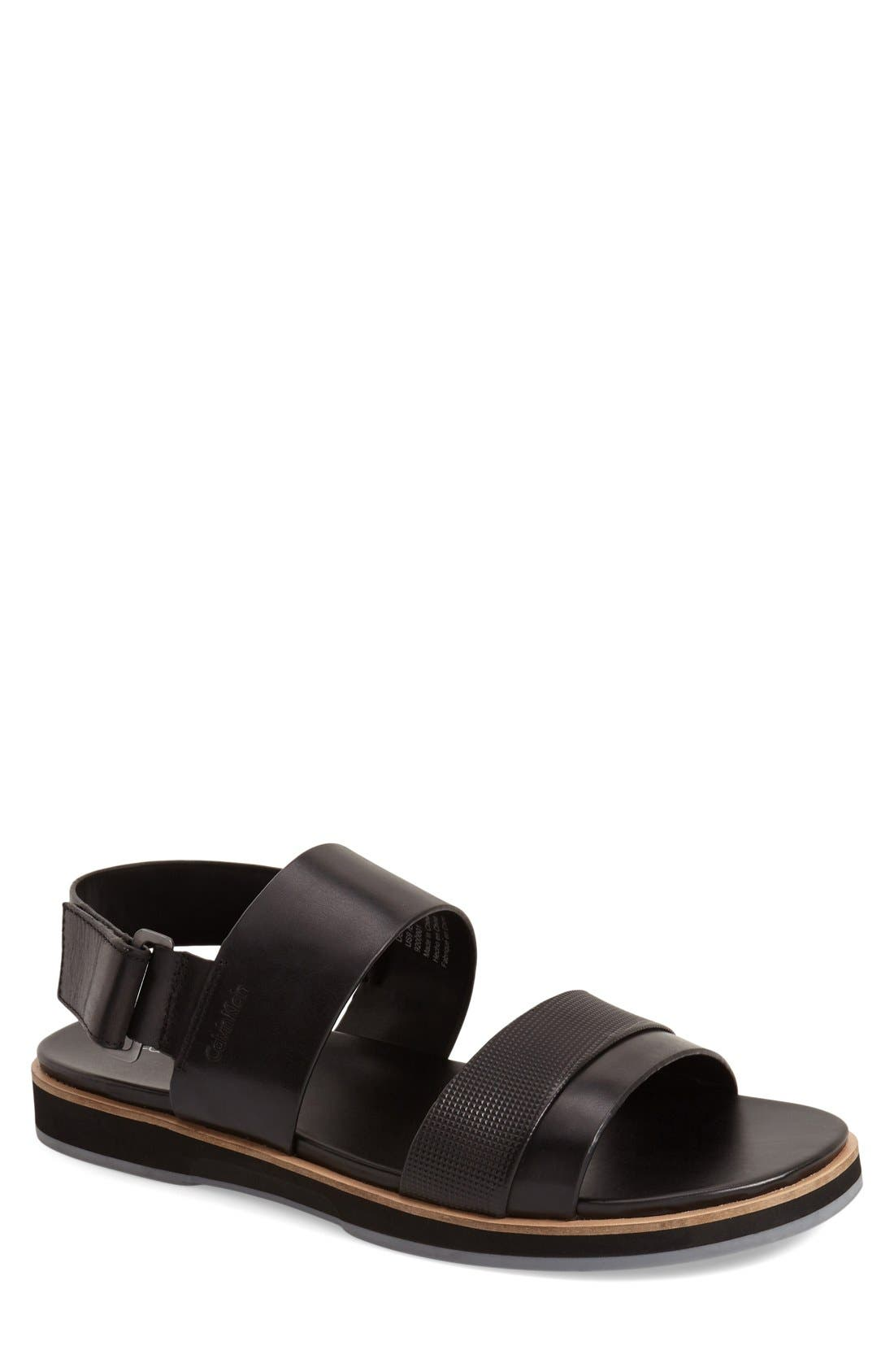 'Dex' Embossed Leather Sandal,                             Main thumbnail 1, color,