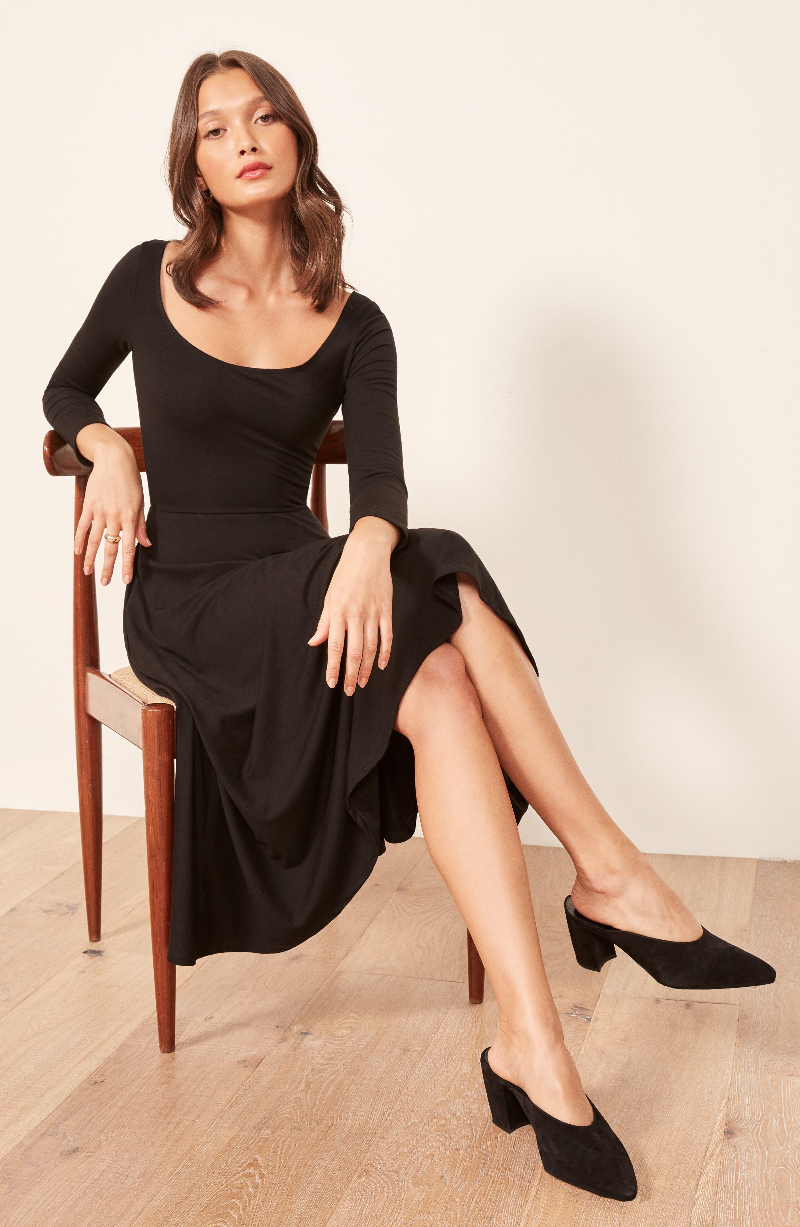 Lou Midi Dress,                             Alternate thumbnail 2, color,                             BLACK