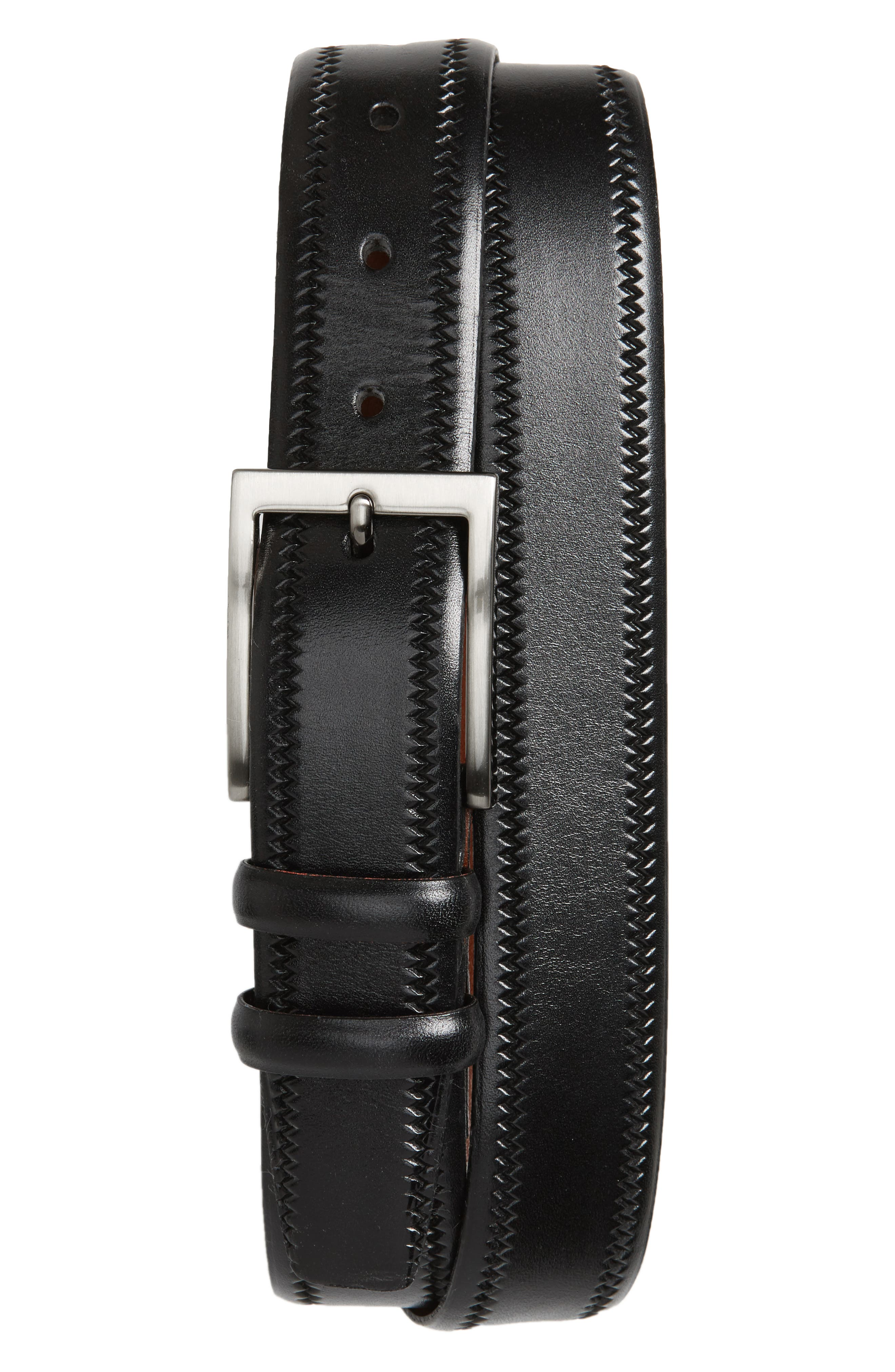 Embossed Leather Belt,                             Main thumbnail 1, color,                             BLACK