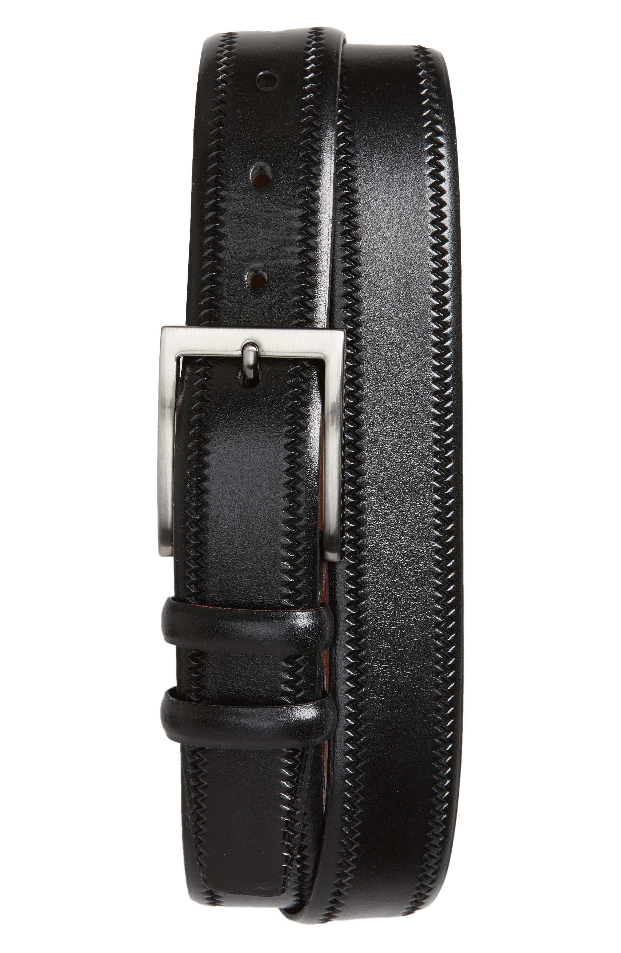 Embossed Leather Belt,                         Main,                         color, BLACK