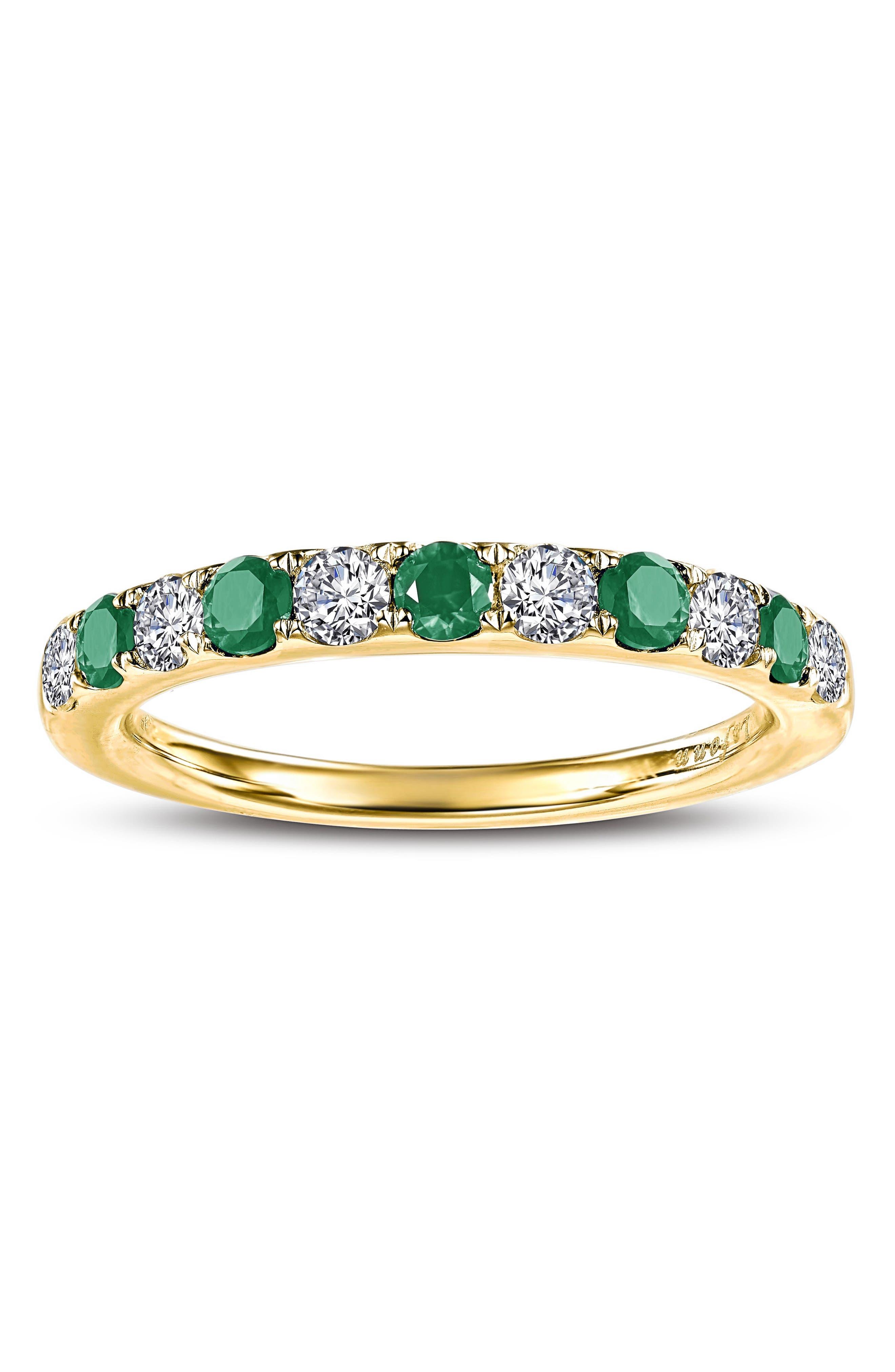 Simulated Diamond Birthstone Band Ring,                             Alternate thumbnail 2, color,                             MAY - GREEN/ GOLD