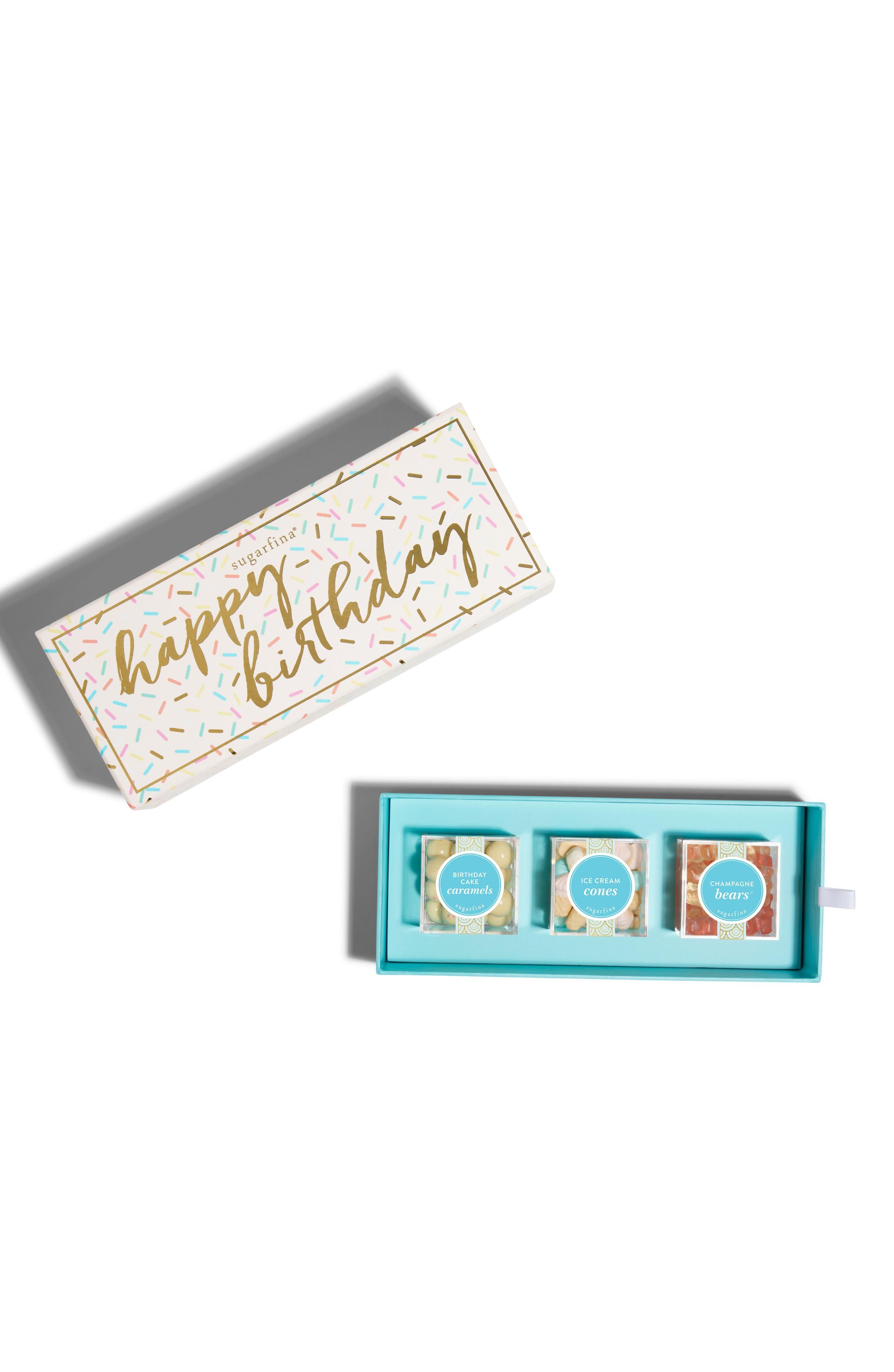 Happy Birthday 3-Piece Candy Bento Box,                             Main thumbnail 1, color,                             WHITE