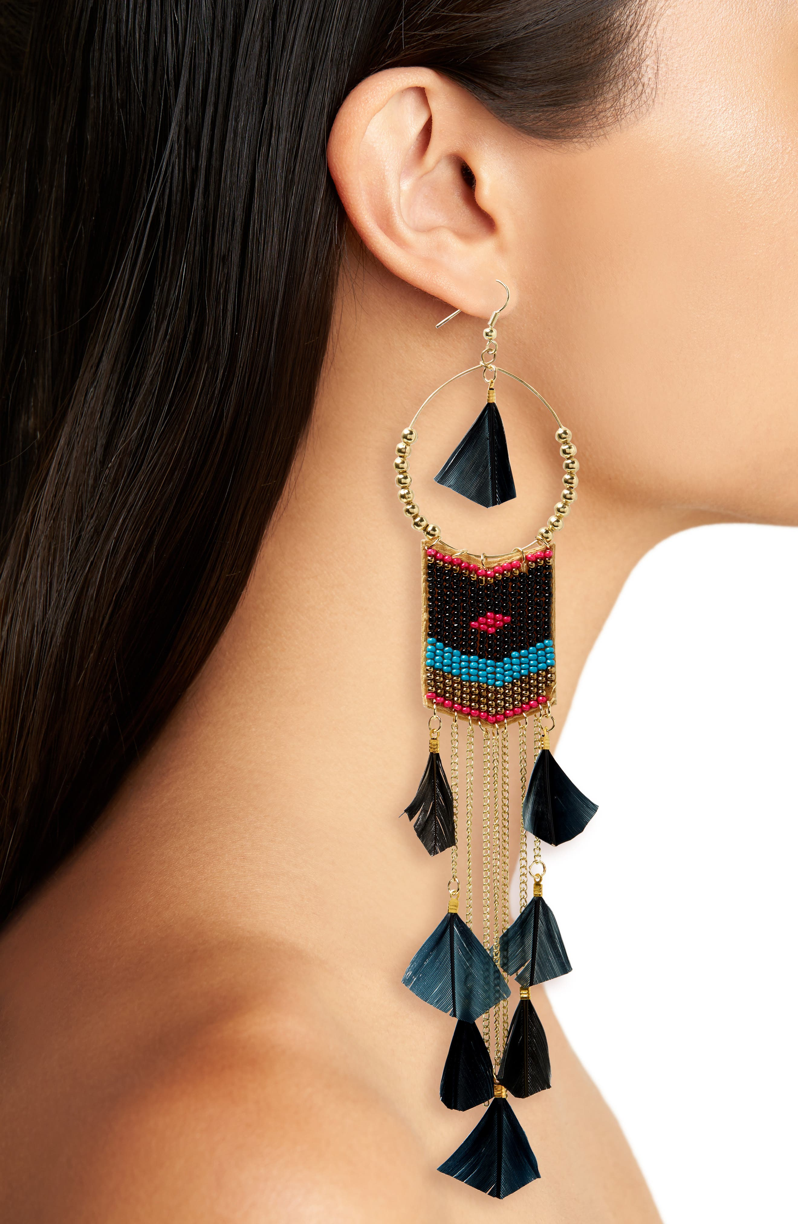 Feather Beaded Drop Earrings,                             Alternate thumbnail 2, color,                             001