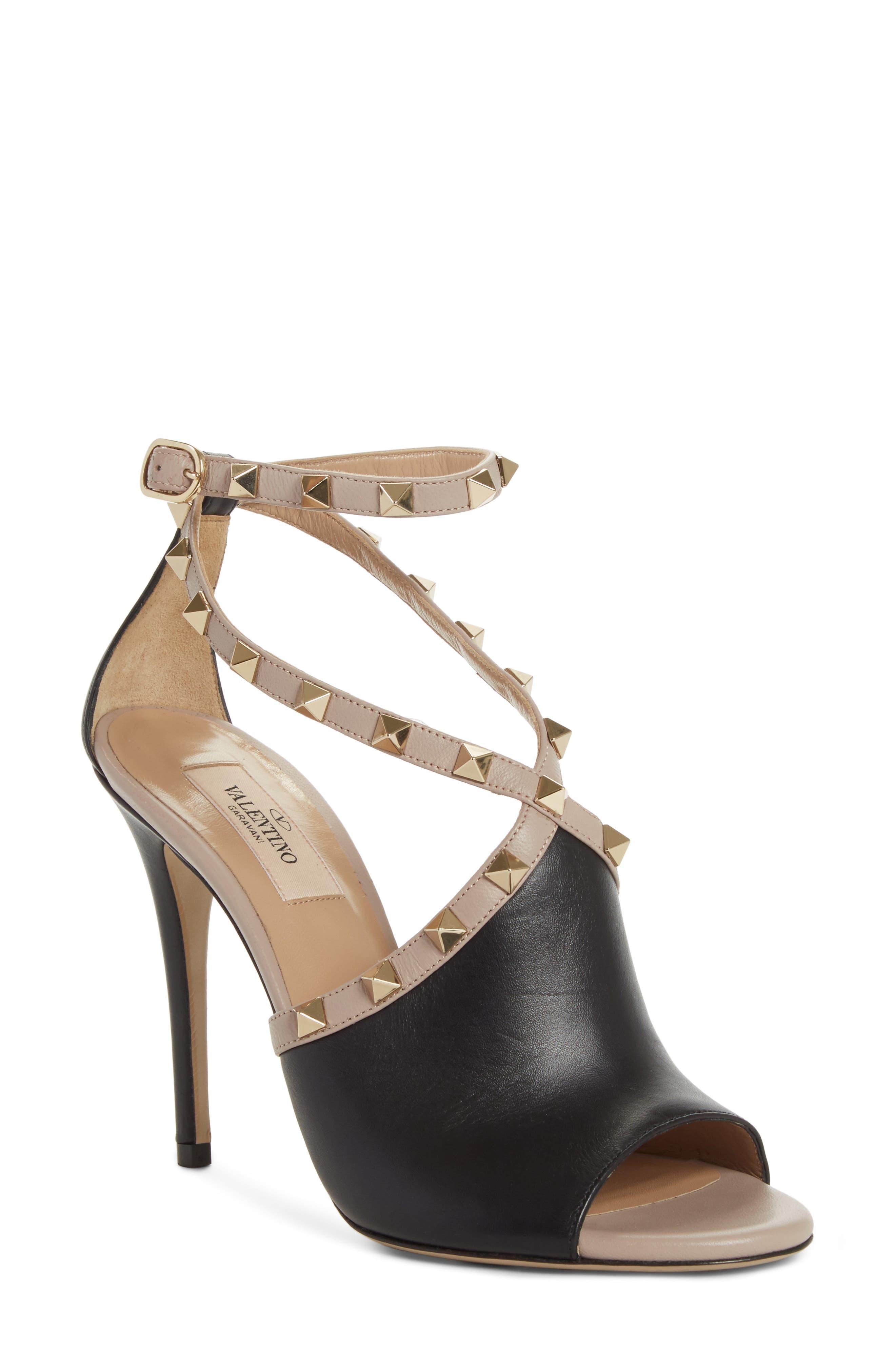 Rockstud Peep Toe Sandal,                             Main thumbnail 1, color,                             BLACK/ BEIGE