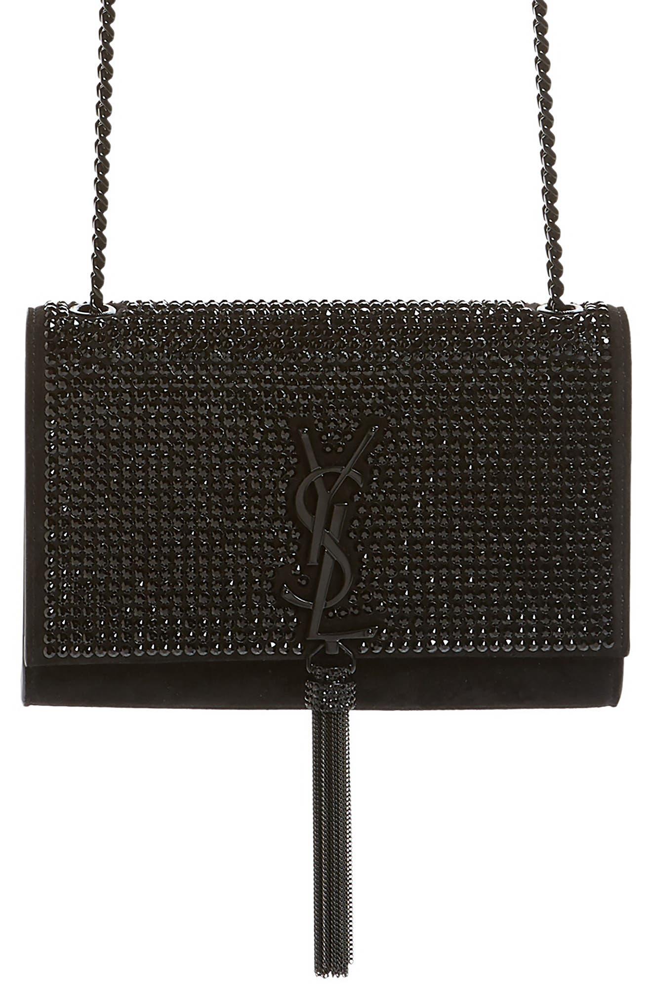 Small Kate Crystal Embellished Crossbody Bag,                             Main thumbnail 1, color,                             NERO/ JET