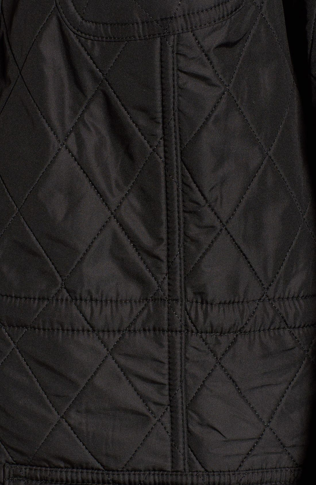 'Arrow' Quilted Anorak,                             Alternate thumbnail 6, color,                             BLACK