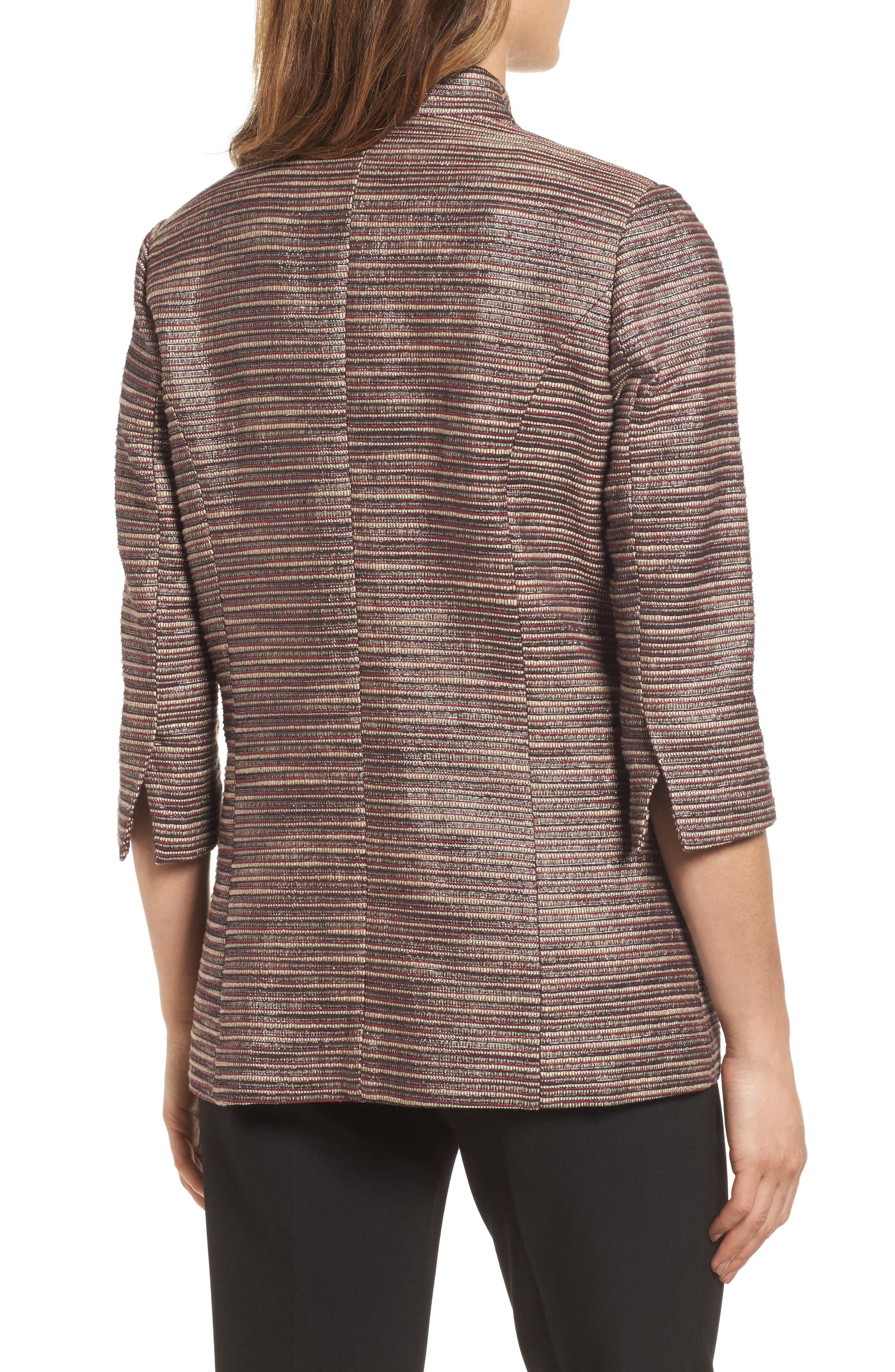 Ribbed Metallic Tweed Jacket,                             Alternate thumbnail 2, color,                             657