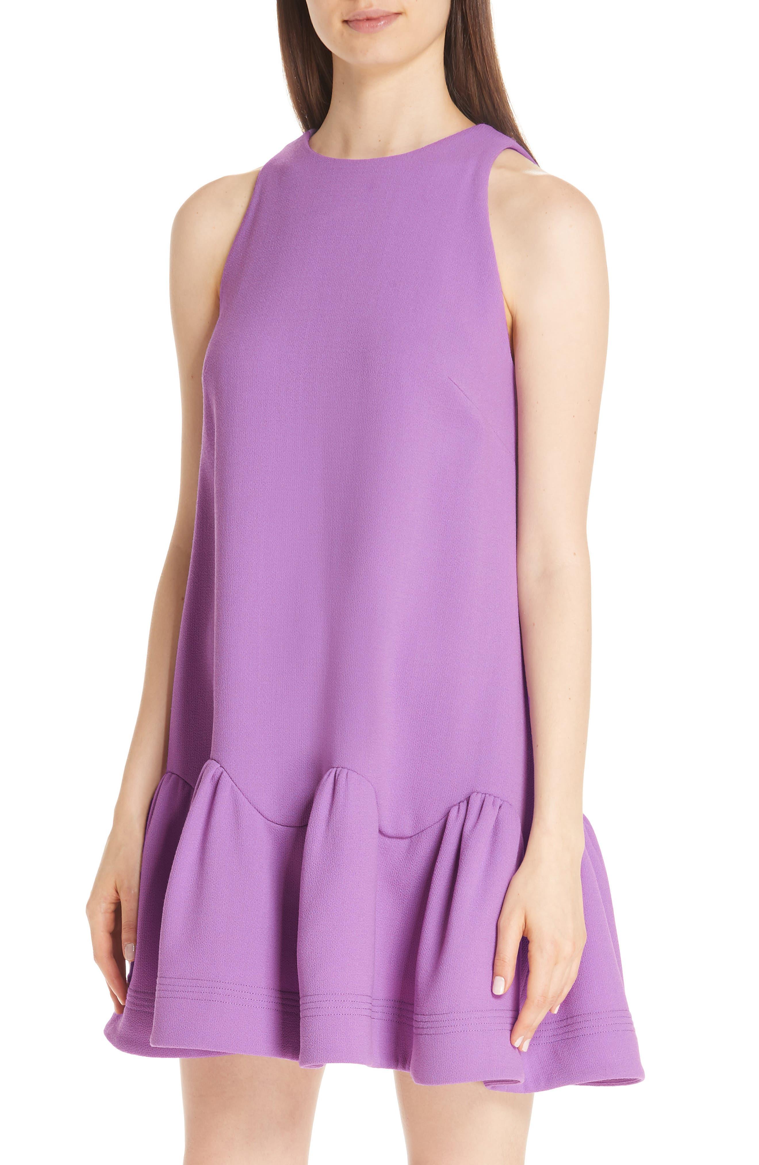 Scarf Neck Wool Blend Crepe Drop Waist Dress,                             Alternate thumbnail 3, color,                             LAVENDER