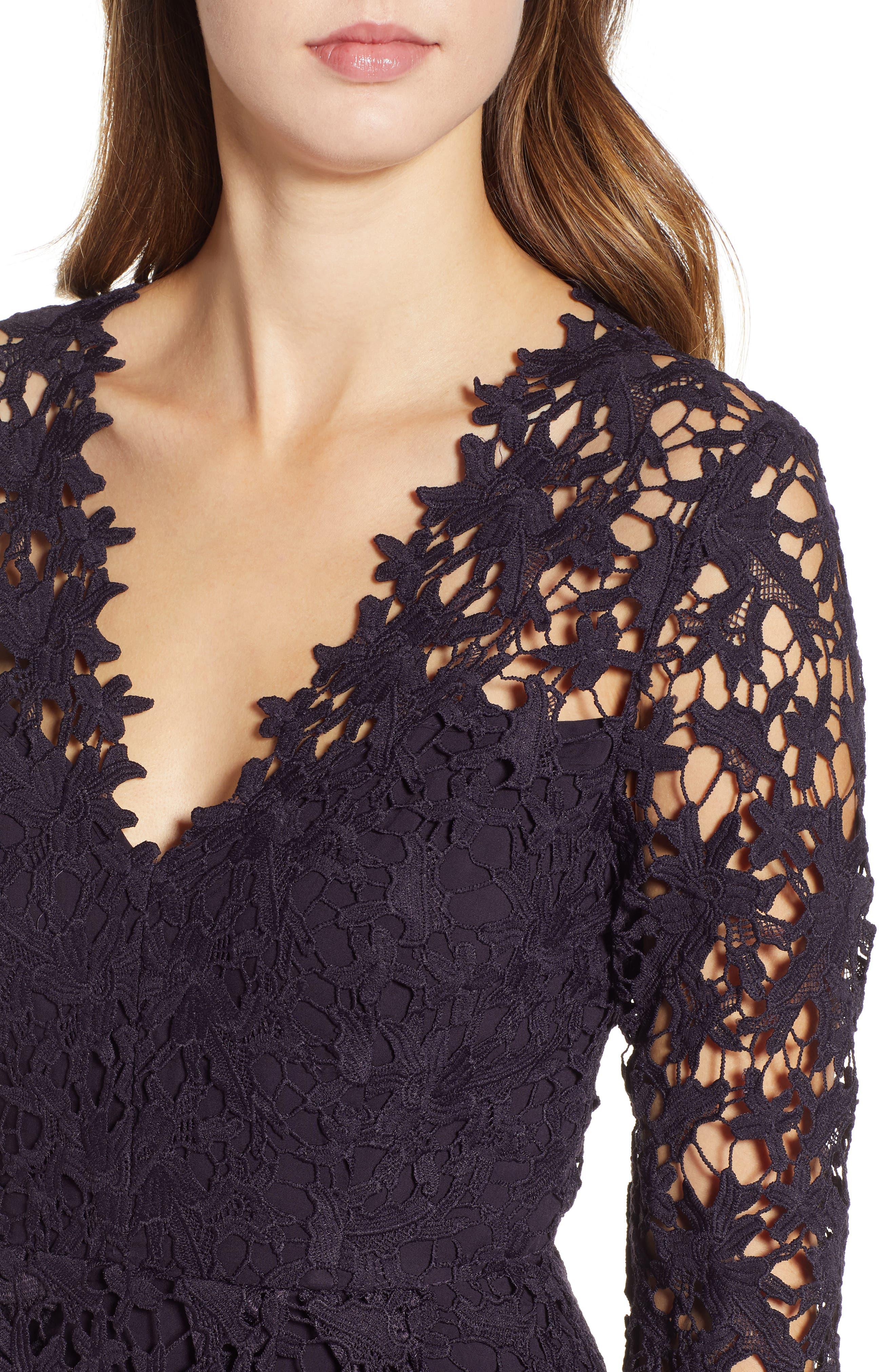 Lace Midi Dress,                             Alternate thumbnail 4, color,                             EGGPLANT