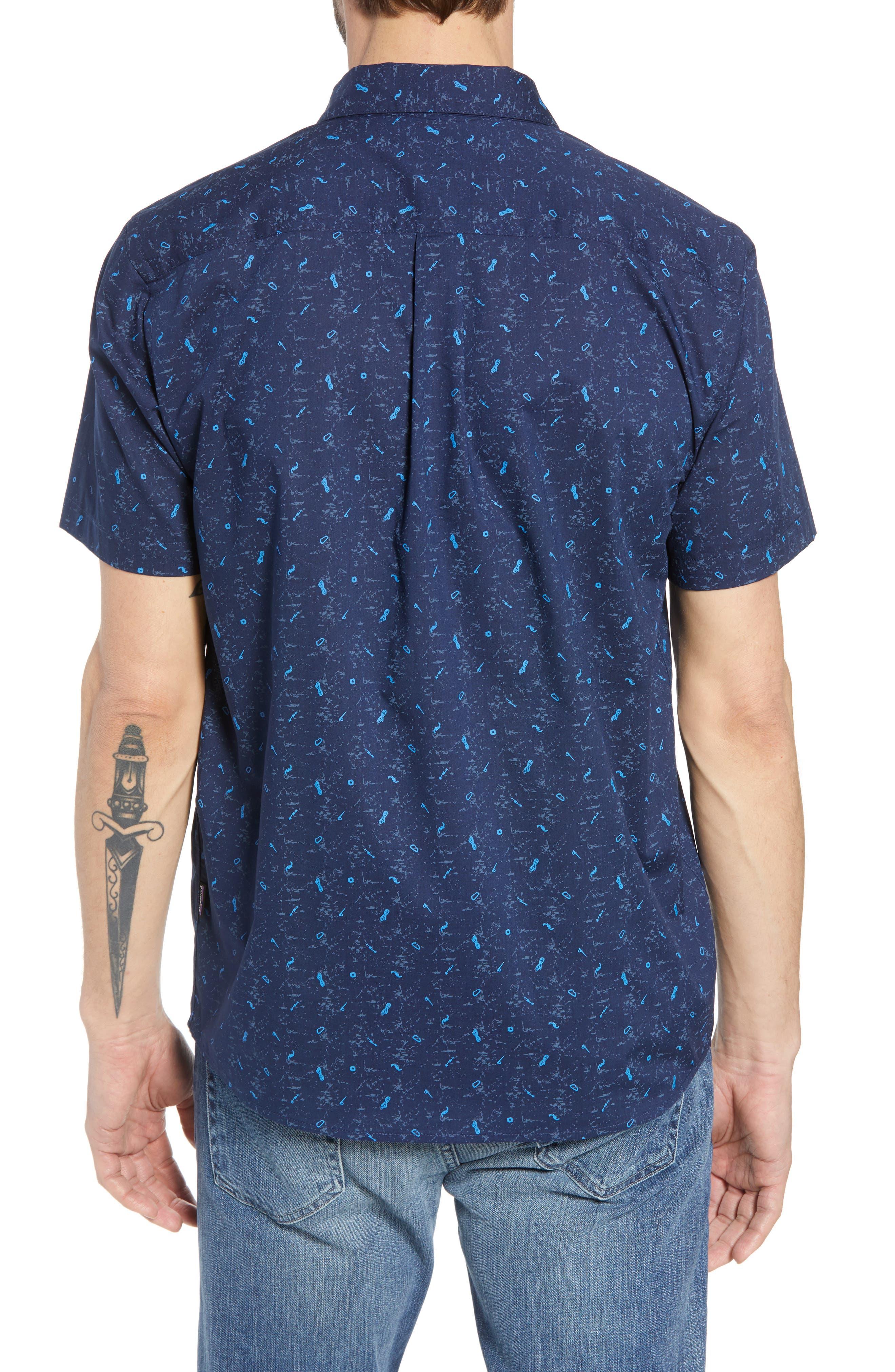 'Go To' Slim Fit Short Sleeve Sport Shirt,                             Alternate thumbnail 2, color,                             ROCKWALL/ CLASSIC NAVY
