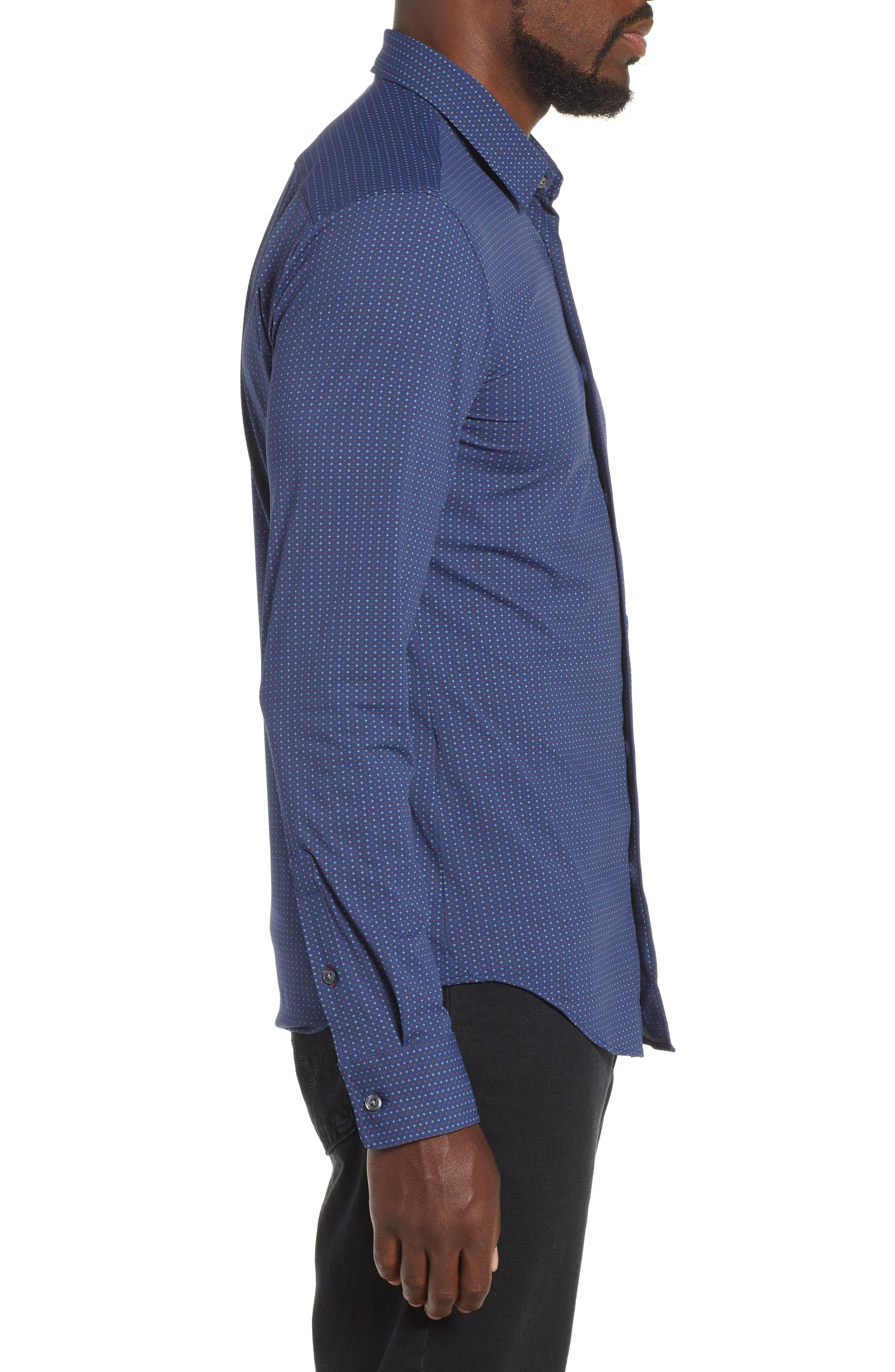Ronni Slim Fit Stretch Sport Shirt,                             Alternate thumbnail 4, color,                             BLUE
