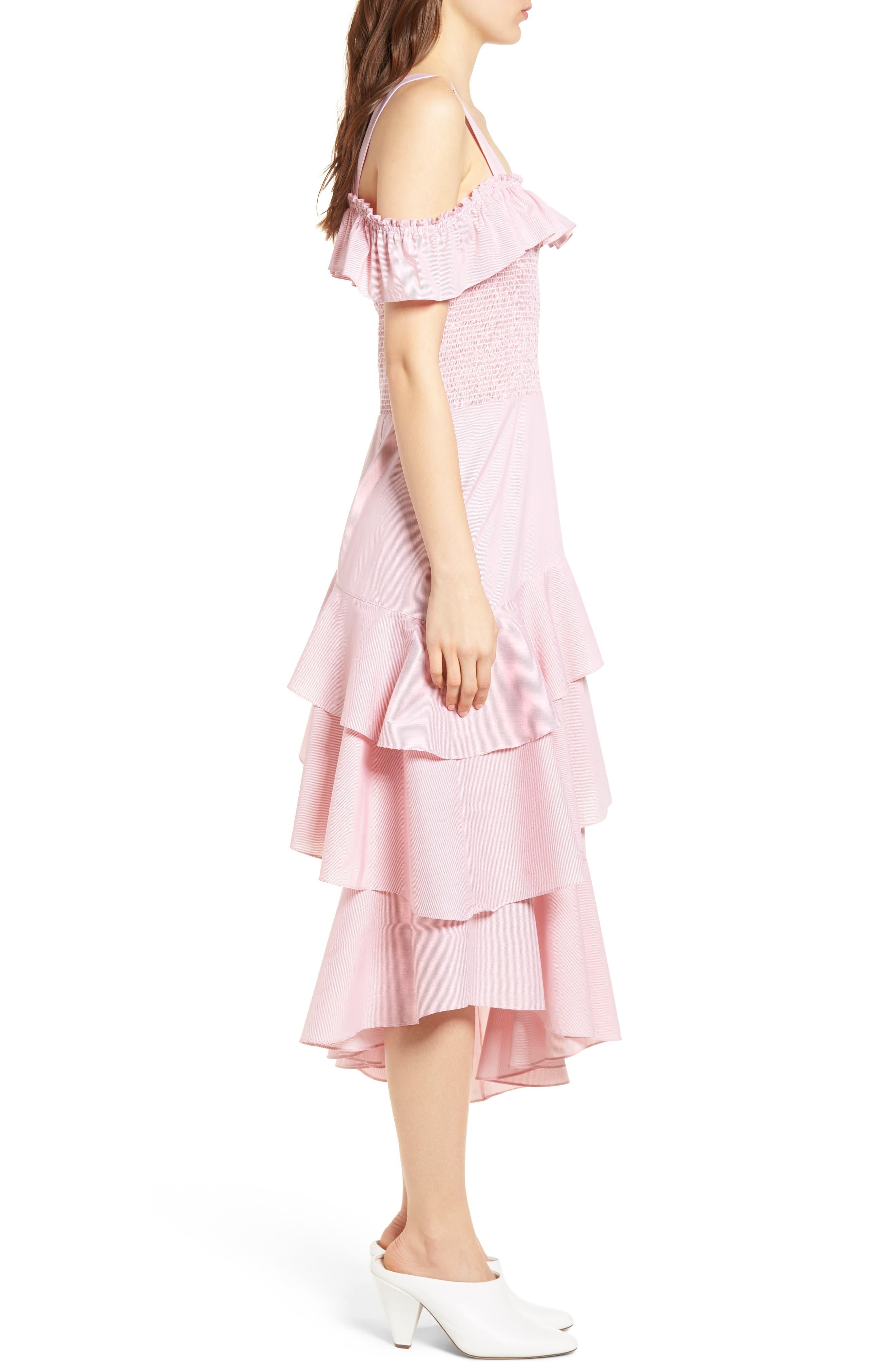 Ruffle Smocked Cold Shoulder Dress,                             Alternate thumbnail 6, color,