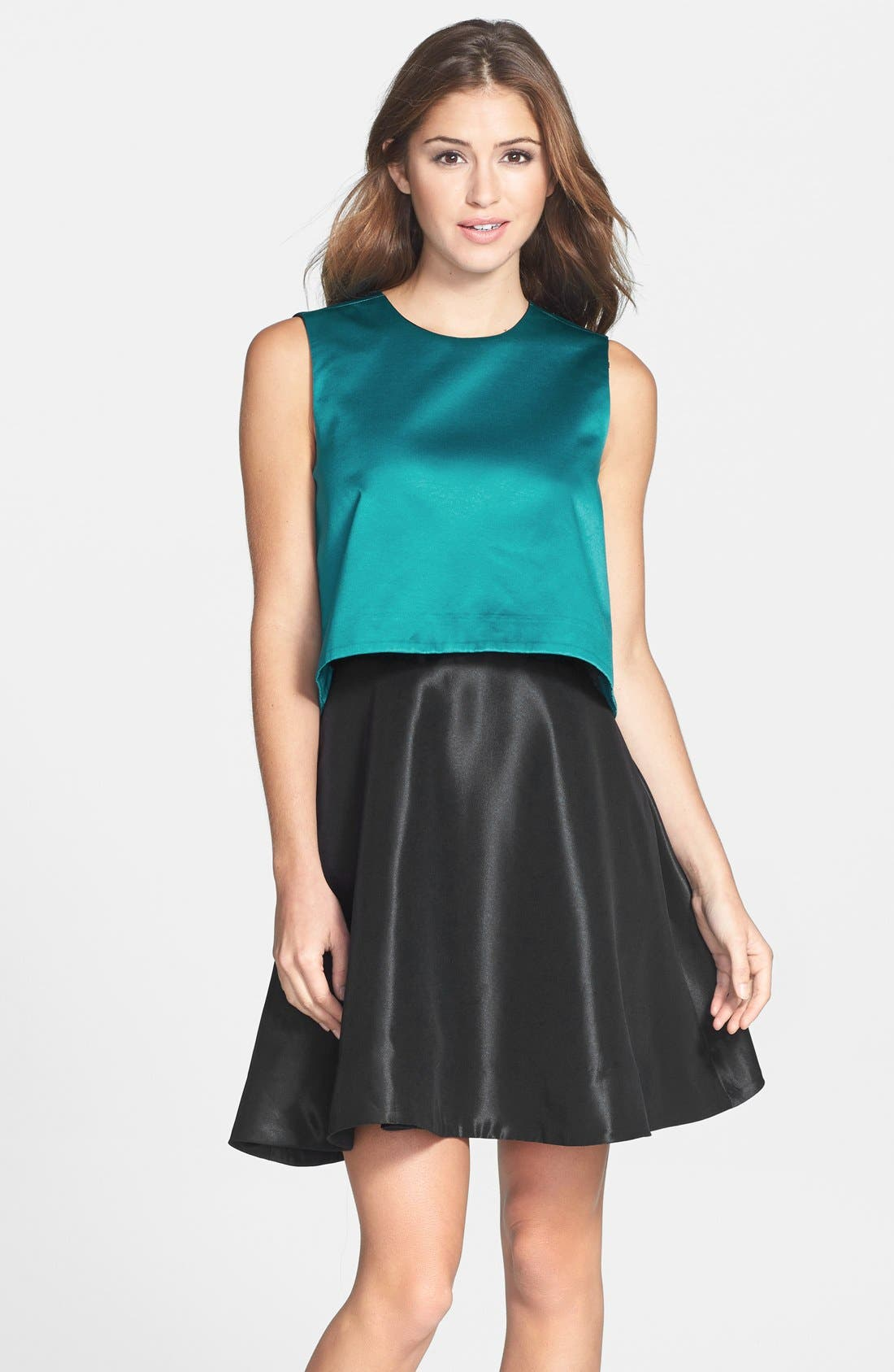 'Tippy' Popover Satin Fit & Flare Dress, Main, color, 440