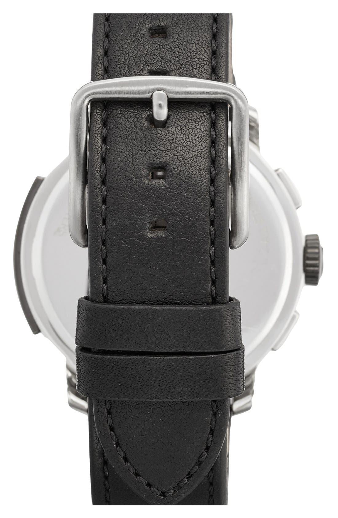 'Bleecker' Chronograph Leather Strap Watch, 44mm,                             Alternate thumbnail 2, color,                             BLACK/ BLACK