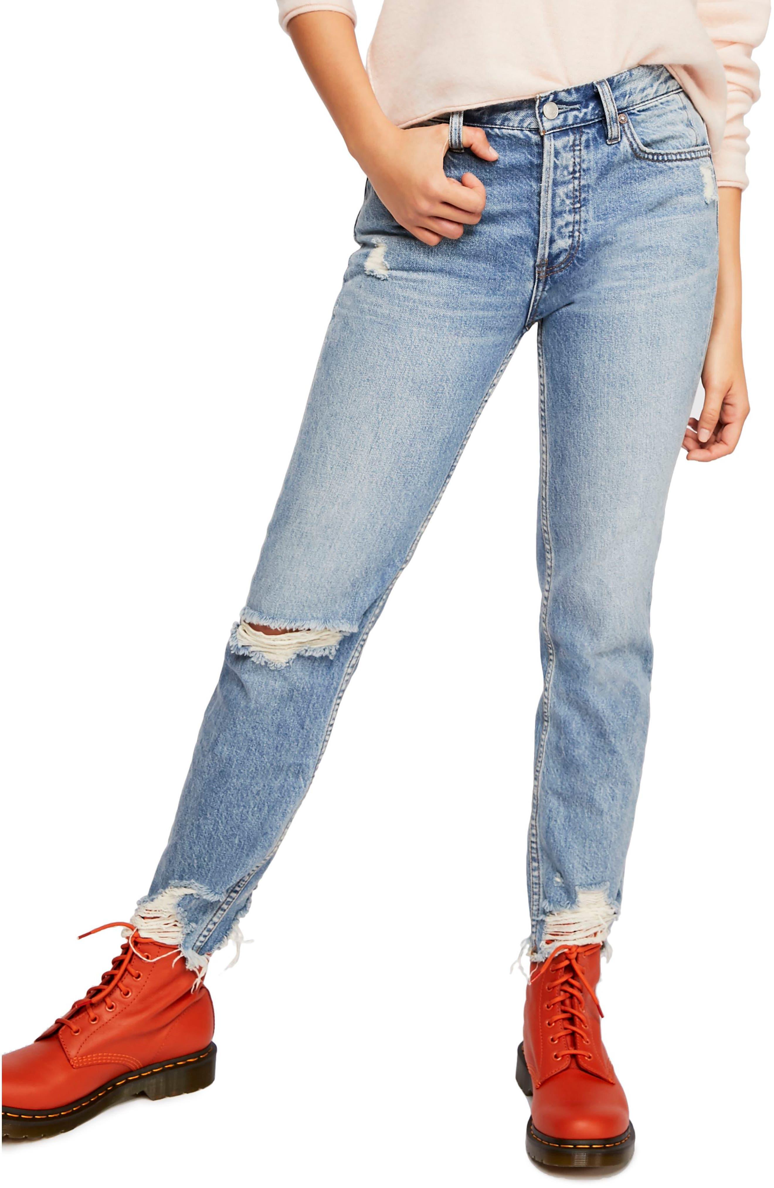 Chewed Up Straight Leg Jeans, Main, color, INDIGO BLUE