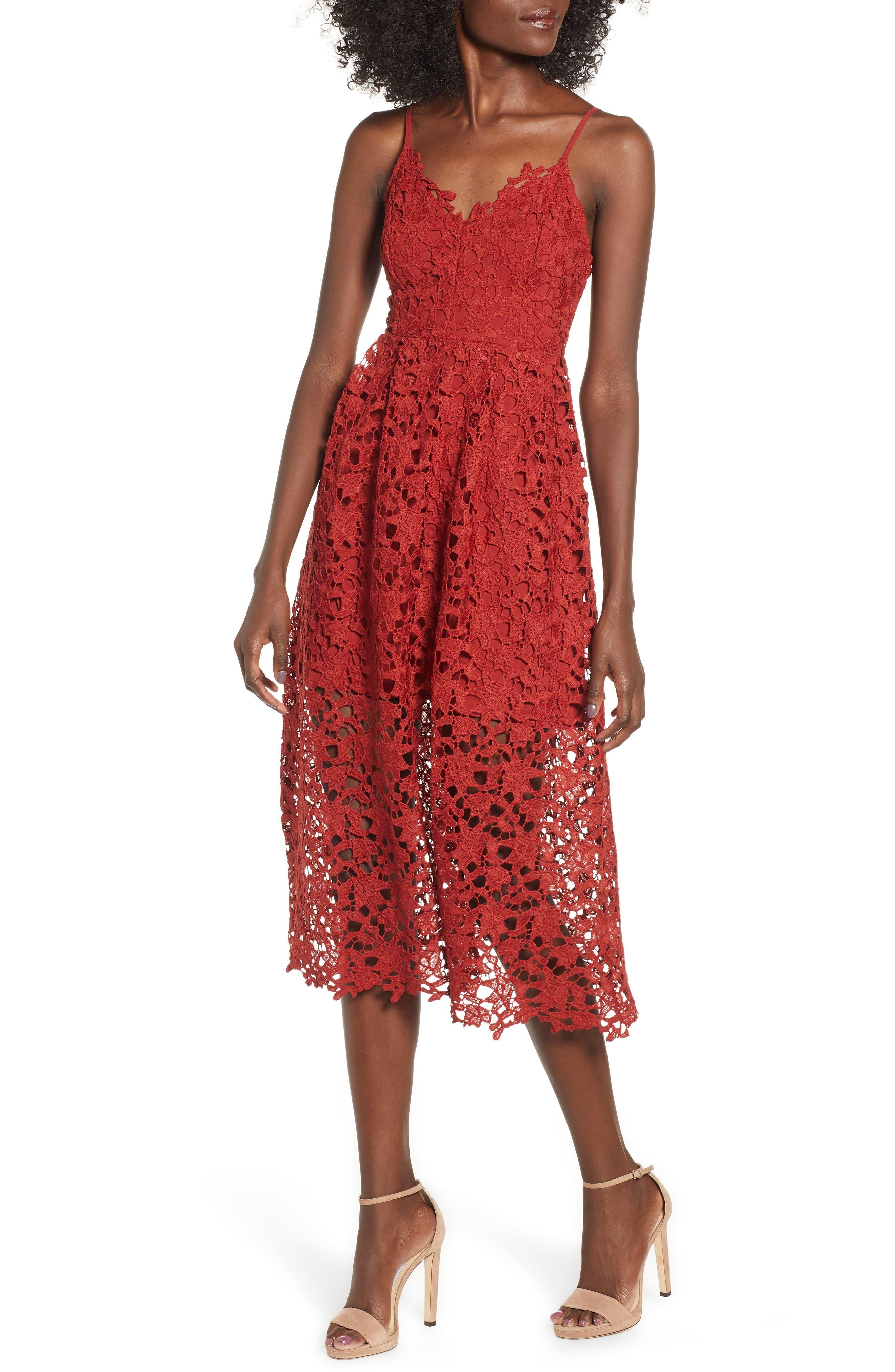 Lace Midi Dress,                             Main thumbnail 1, color,                             RUST