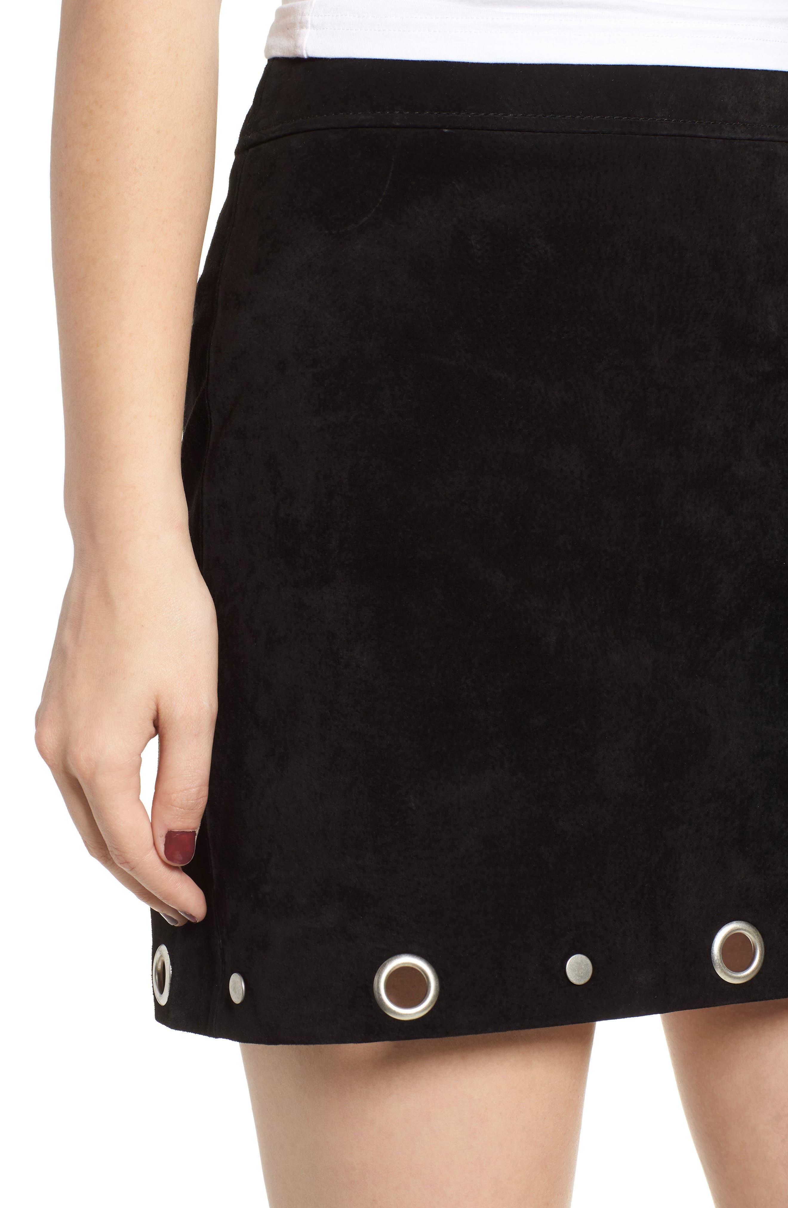 Grommet Suede Skirt,                             Alternate thumbnail 4, color,                             CASTLE BLACK