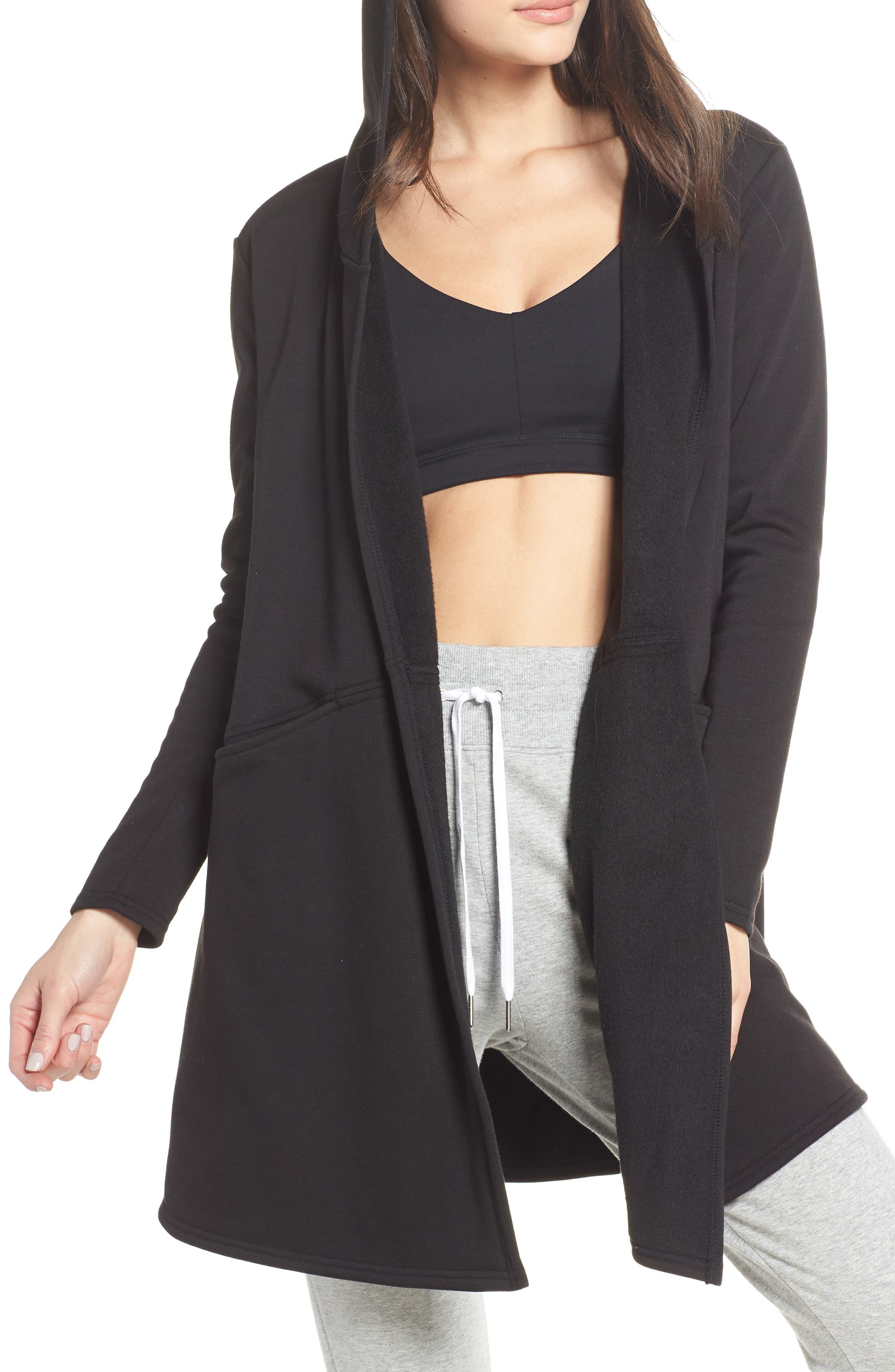 ZELLA Plush Lined Wrap Hooded Jacket, Main, color, 001