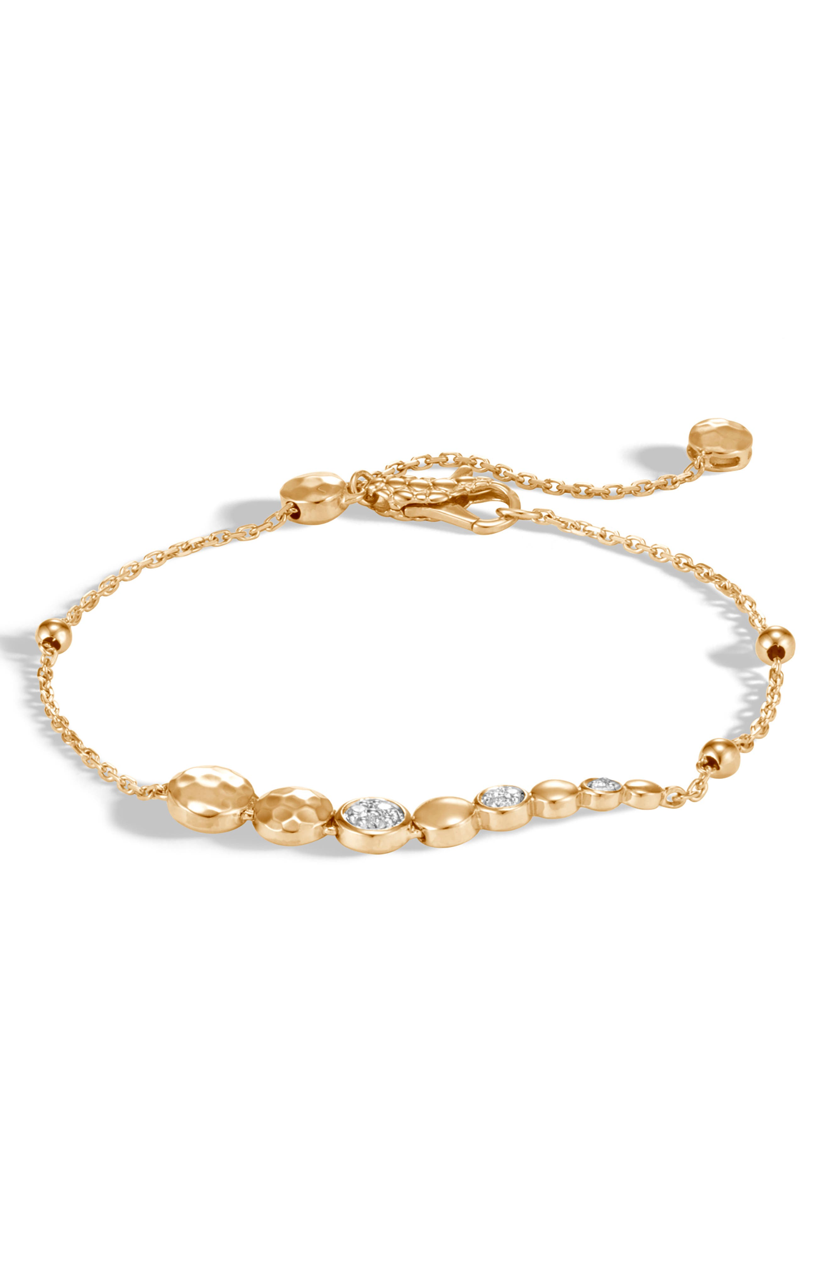 JOHN HARDY,                             Diamond Pavé Hammered Dot Adjustable Bracelet,                             Main thumbnail 1, color,                             GOLD/ DIAMOND