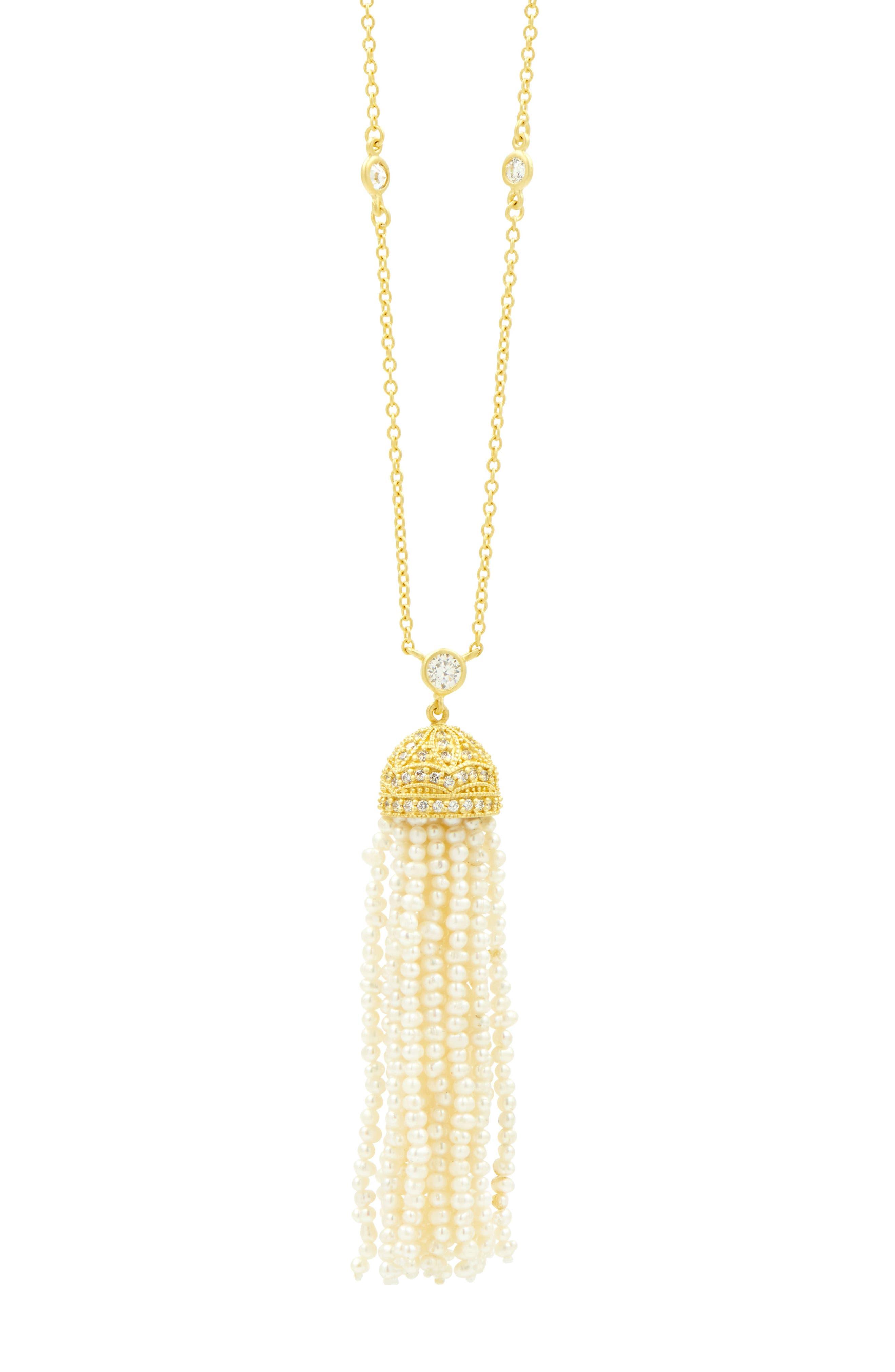 Audrey Tassel Pendant Pearl Necklace,                             Alternate thumbnail 3, color,                             710