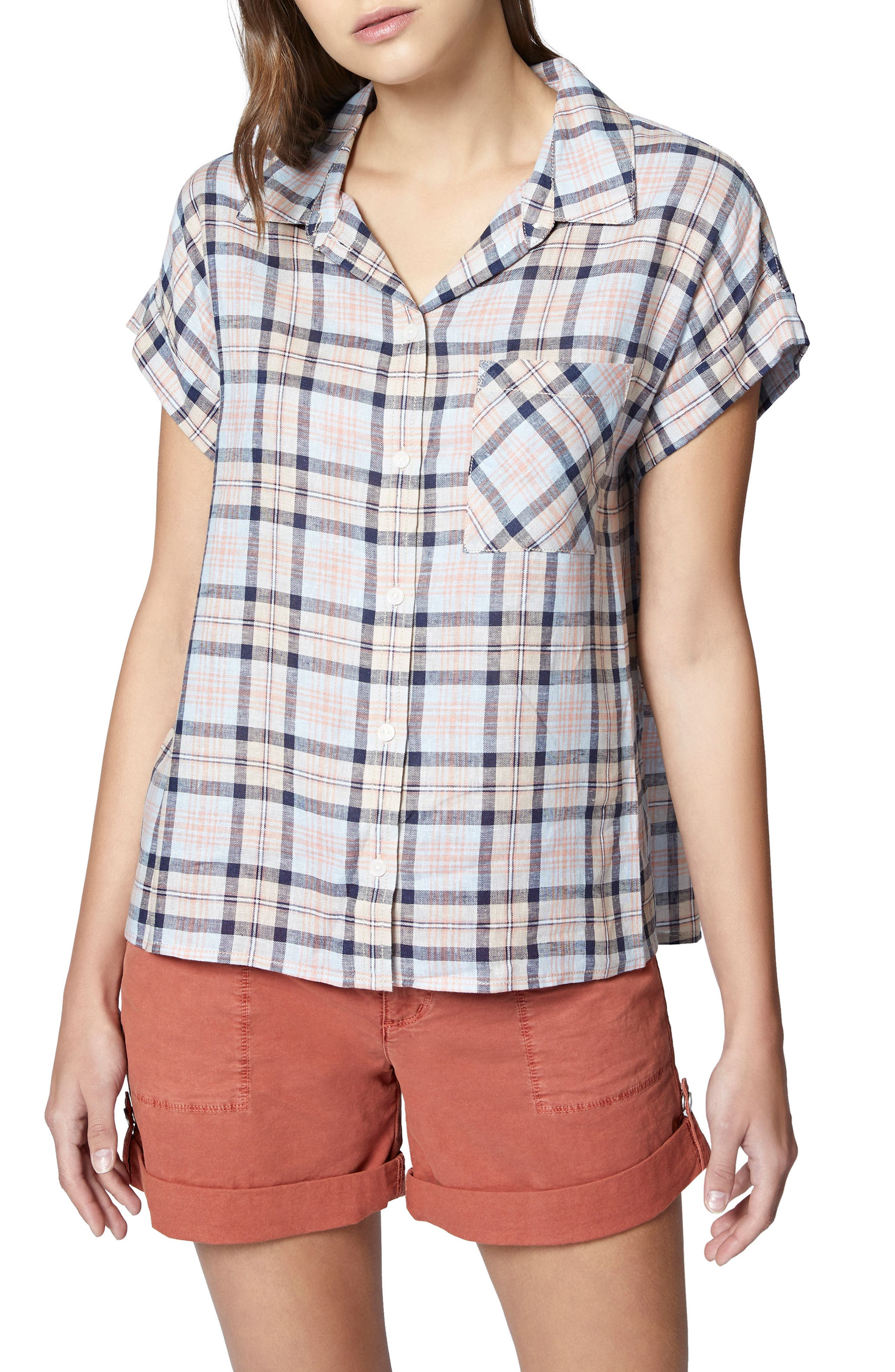 Mod Short Sleeve Boyfriend Shirt,                             Main thumbnail 3, color,