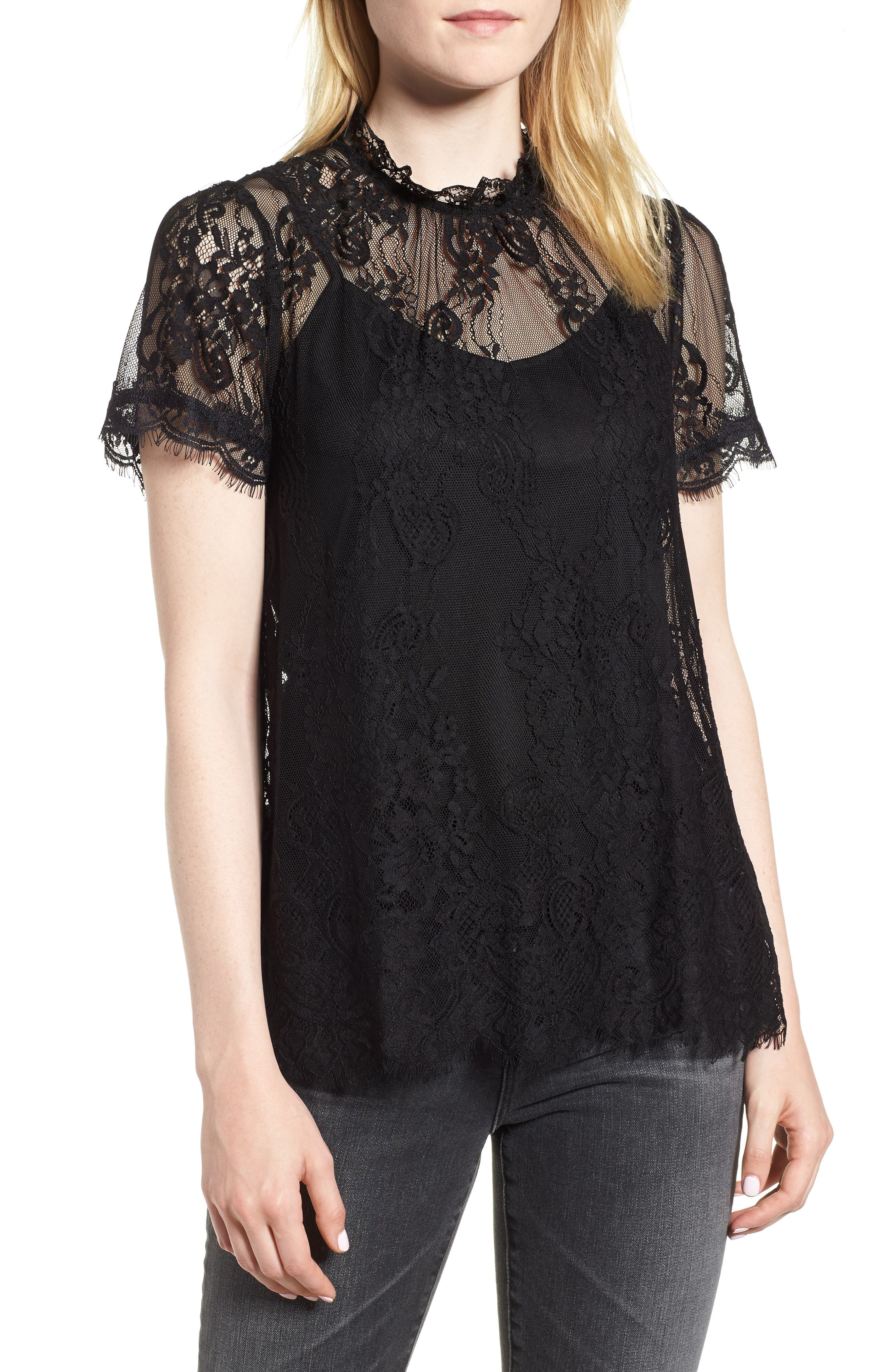 Lace Ruffle Collar Blouse,                         Main,                         color, BLACK