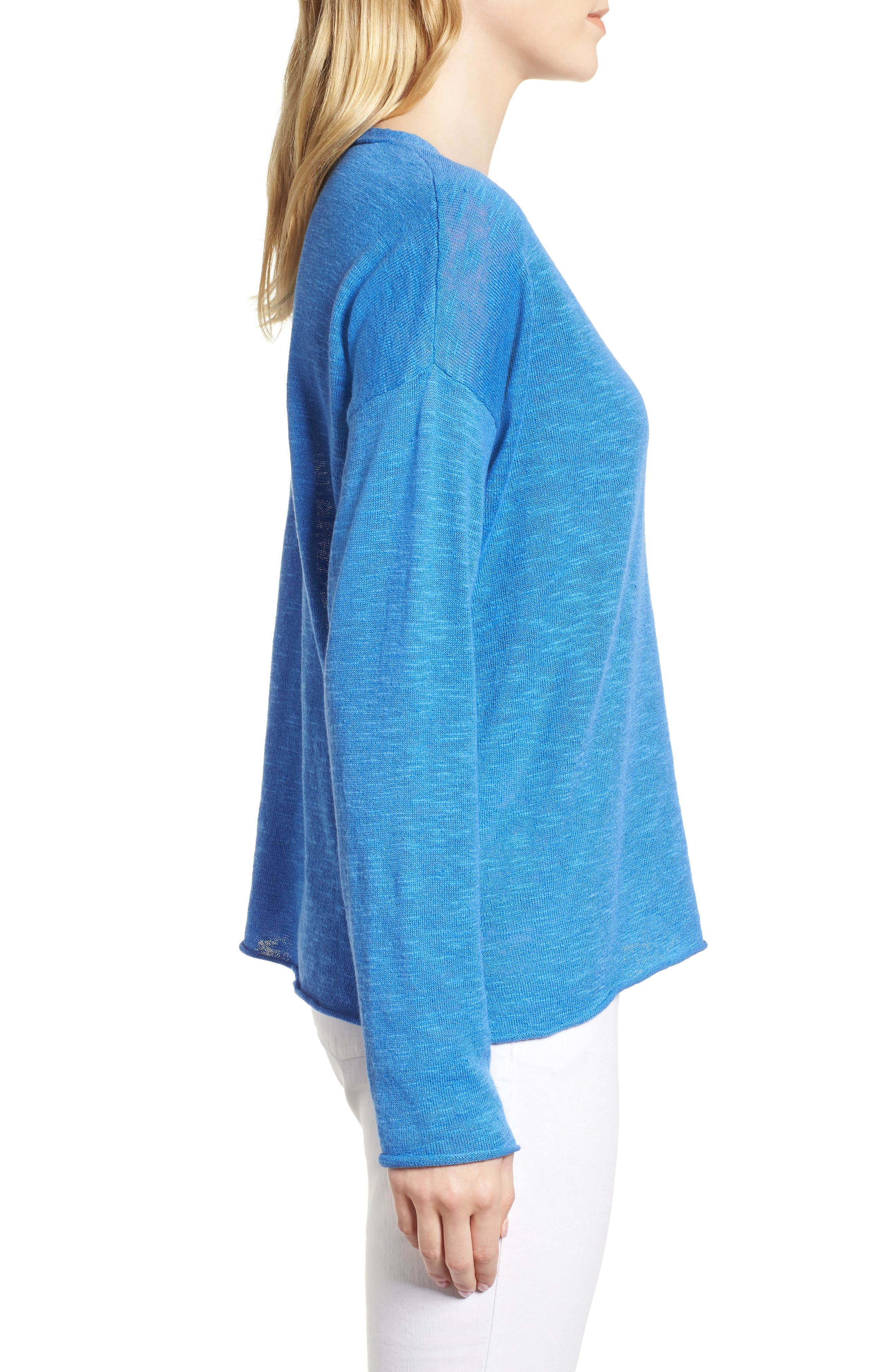 Boxy Organic Linen & Cotton Sweater,                             Alternate thumbnail 12, color,