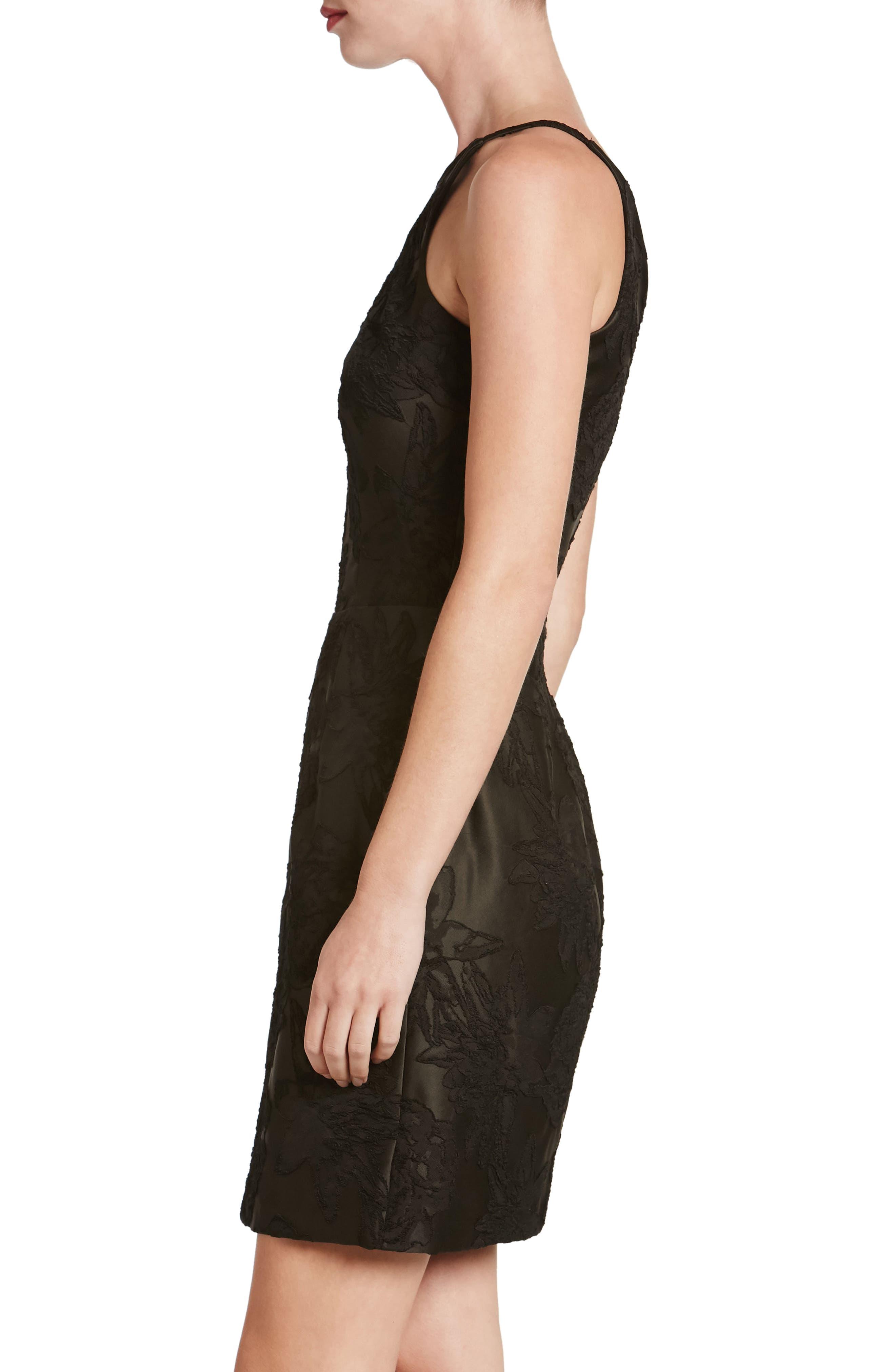Kennedy Illusion Sheath Dress,                             Alternate thumbnail 3, color,                             001