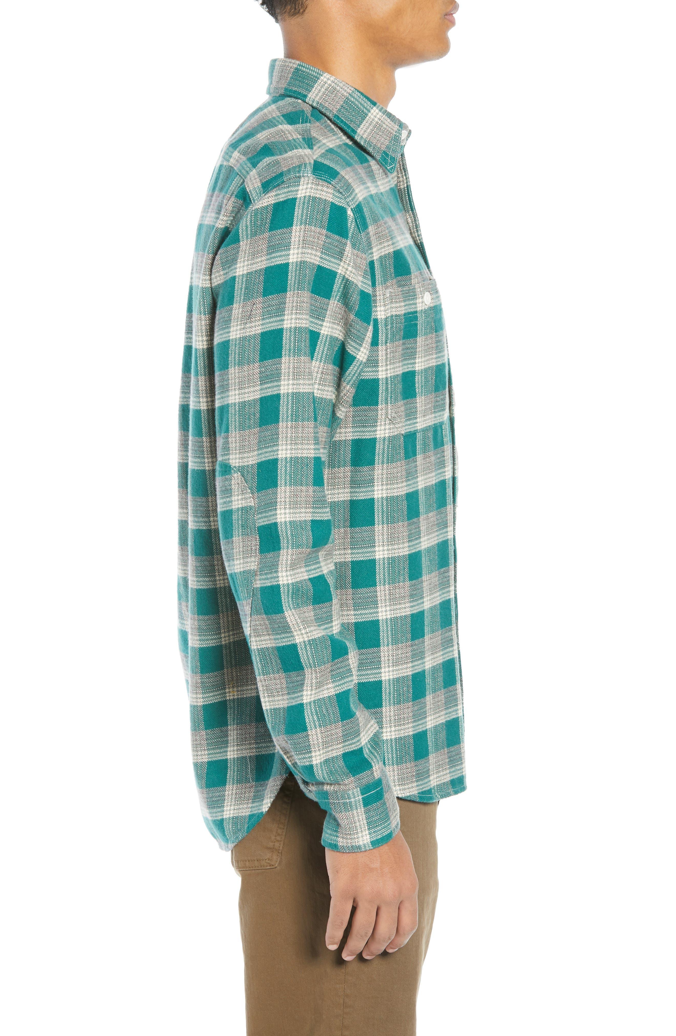 The Heavyweight Flannel Workshirt,                             Alternate thumbnail 4, color,                             GREEN HALF SHADOW