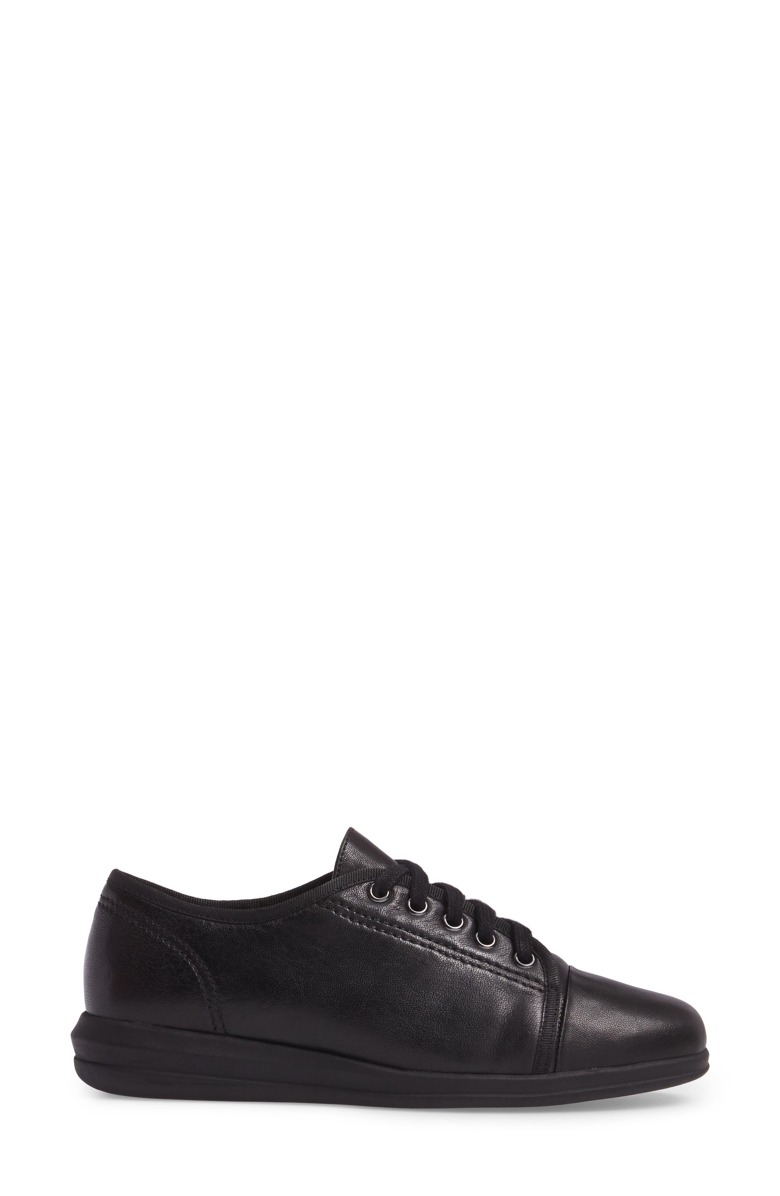 Siren Sneaker,                             Alternate thumbnail 3, color,                             BLACK LEATHER