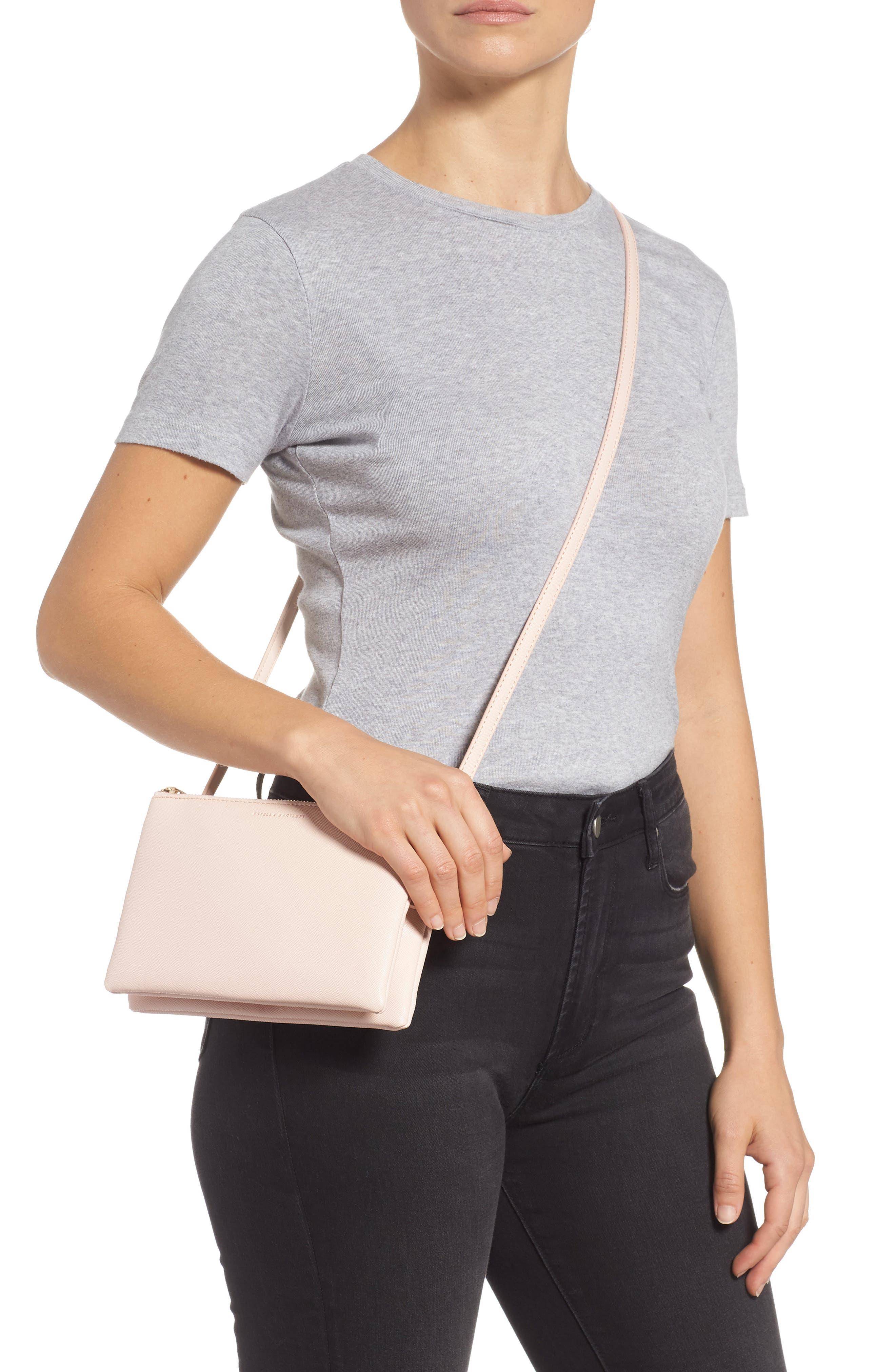 ESTELLA BARTLETT,                             Double Faux Leather Crossbody Bag,                             Alternate thumbnail 2, color,                             BLUSH