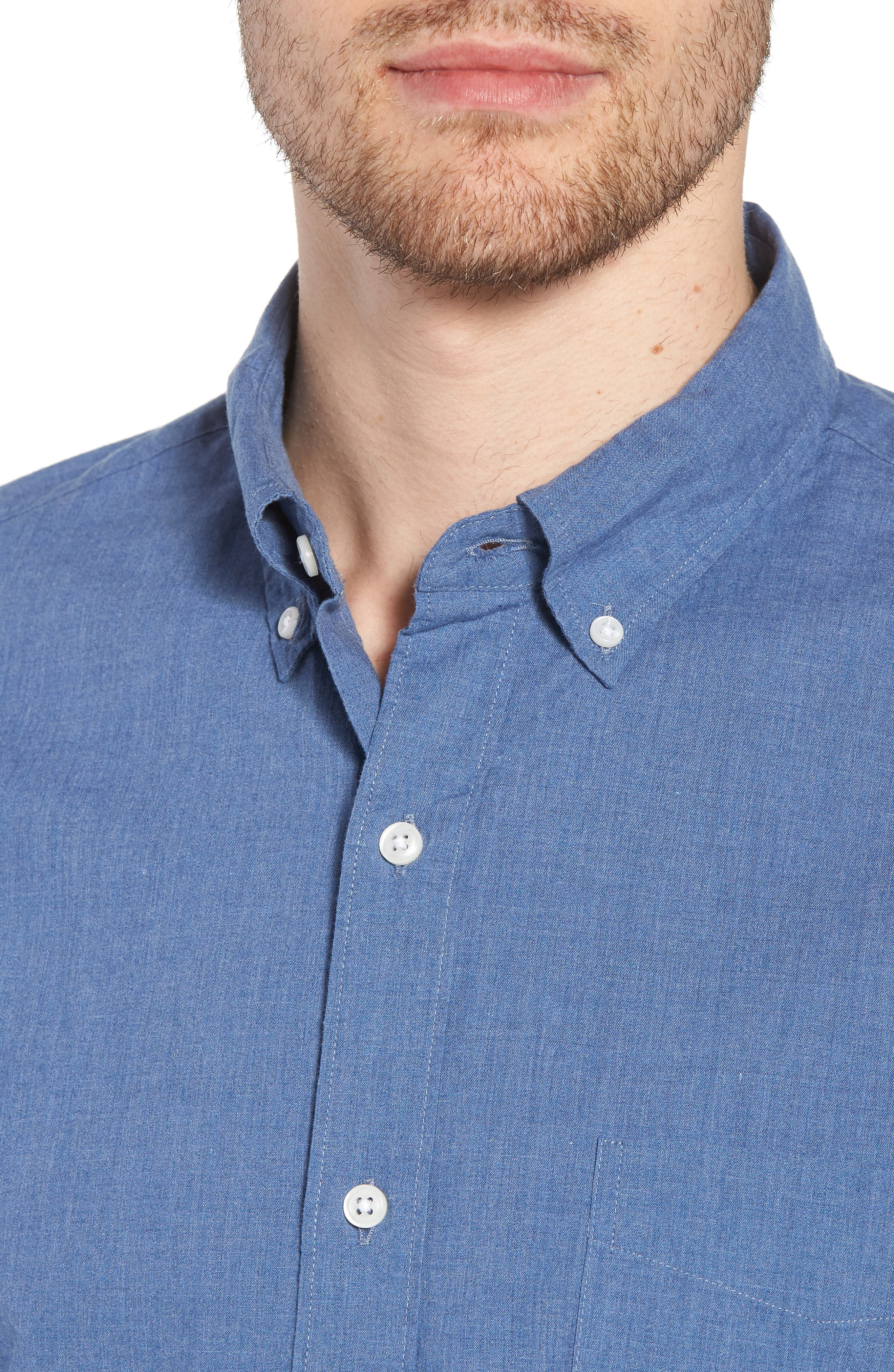 Slim Fit Stretch Secret Wash Heather Poplin Sport Shirt,                             Alternate thumbnail 4, color,                             400