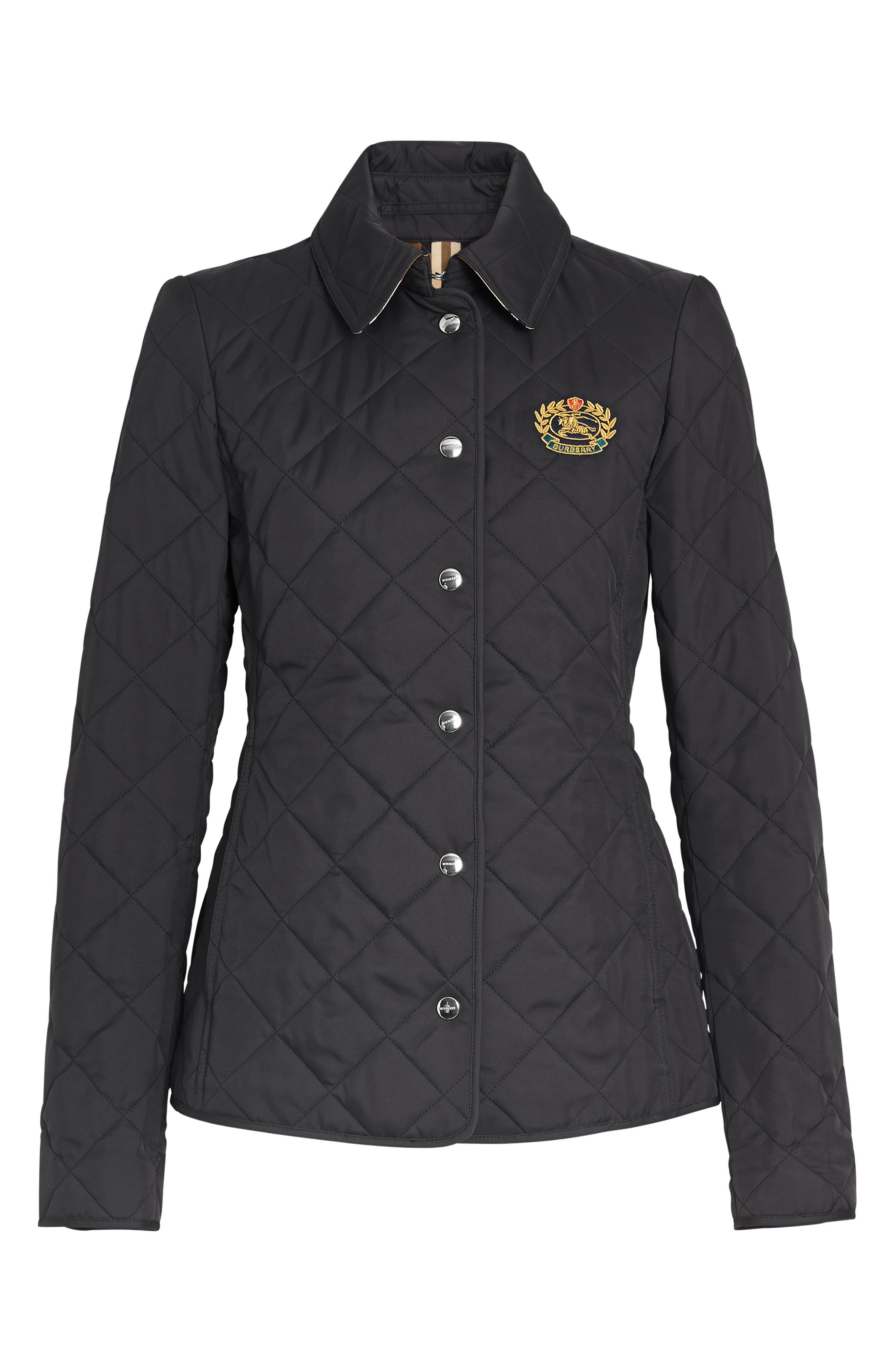 Franwell Diamond Quilted Jacket,                             Alternate thumbnail 5, color,                             BLACK