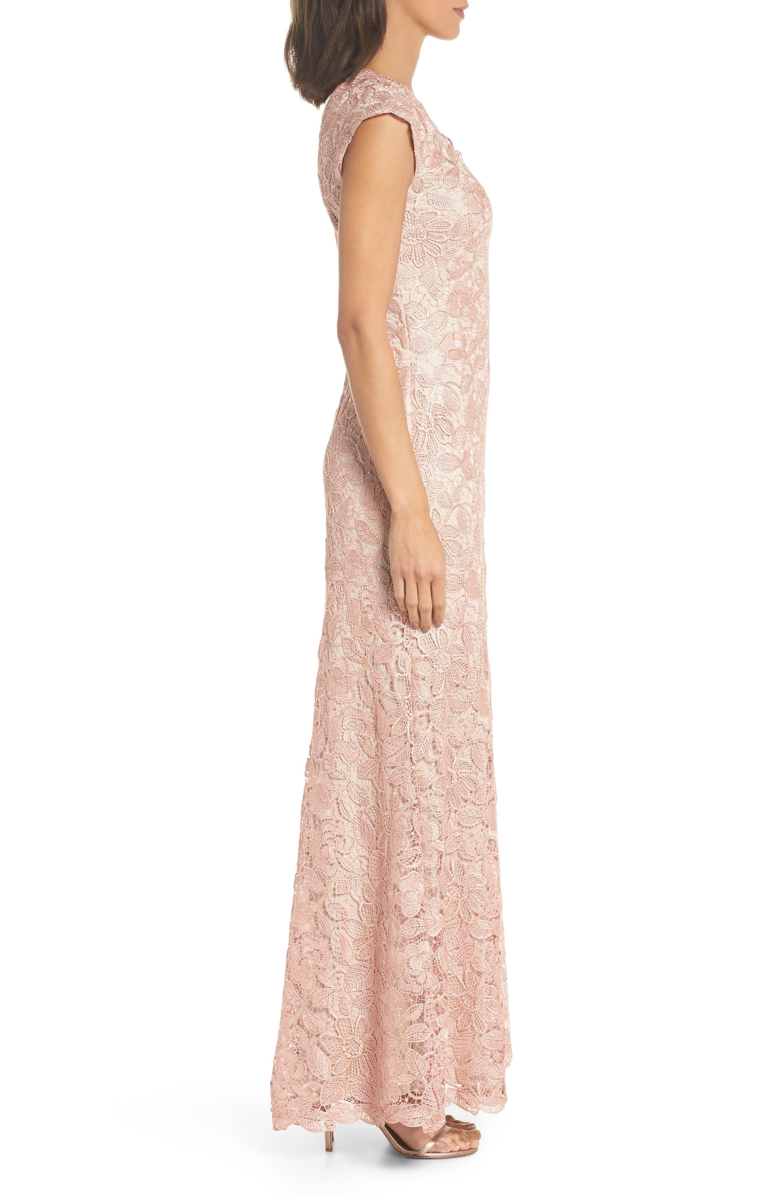 Frankie Lace Gown,                             Alternate thumbnail 3, color,                             PETAL/ GOLD