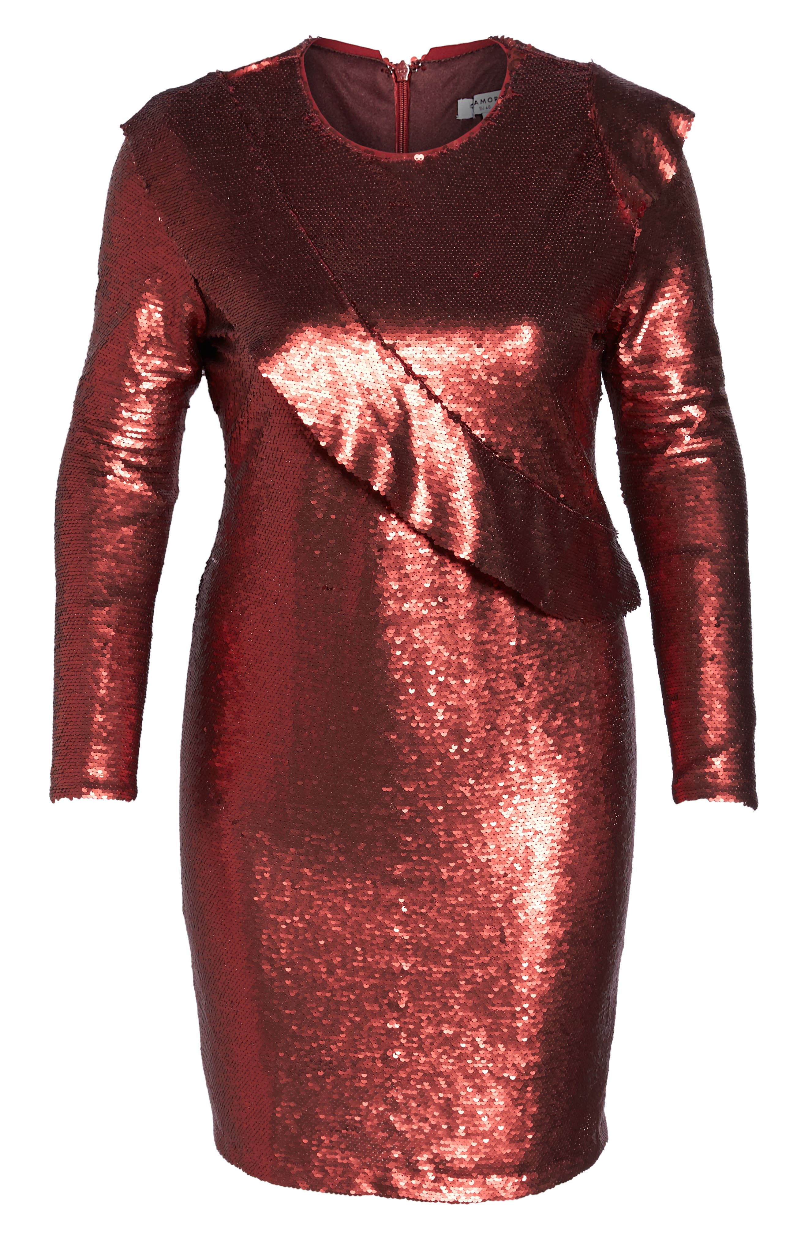 Sequin Ruffle Dress,                             Alternate thumbnail 6, color,                             600