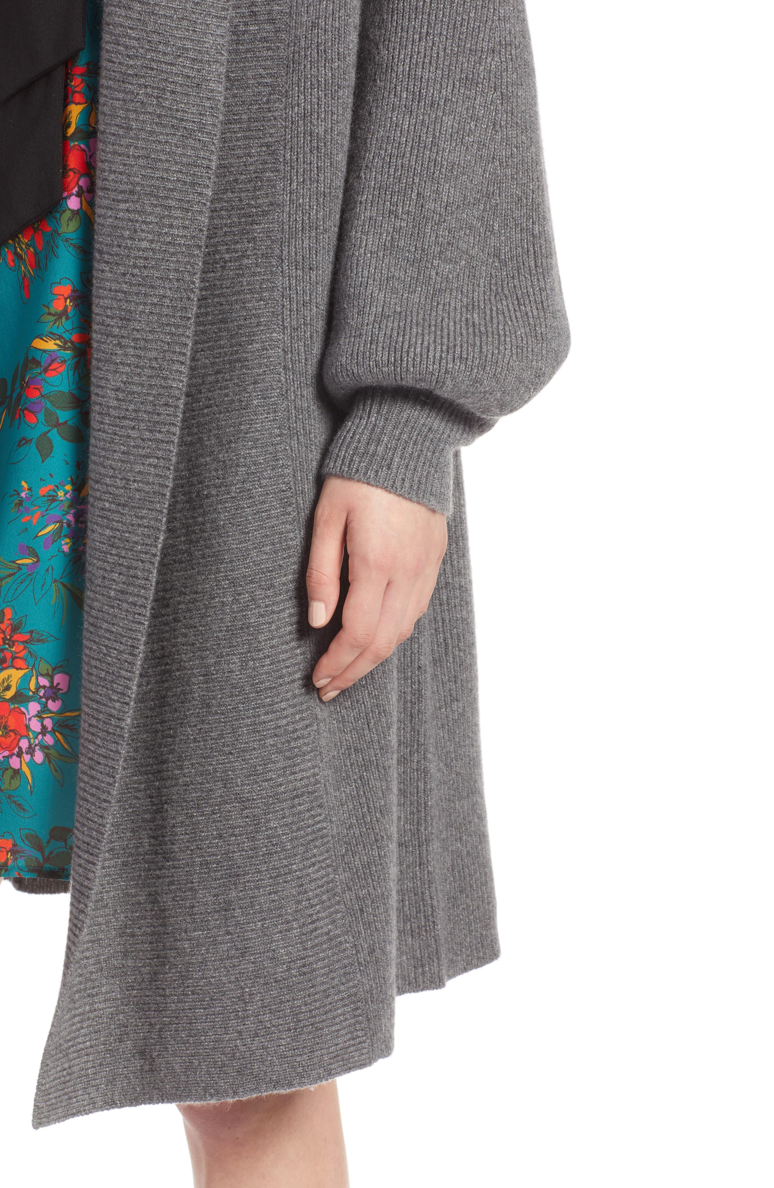 Blouson Sleeve Long Cashmere Cardigan,                             Alternate thumbnail 4, color,                             032