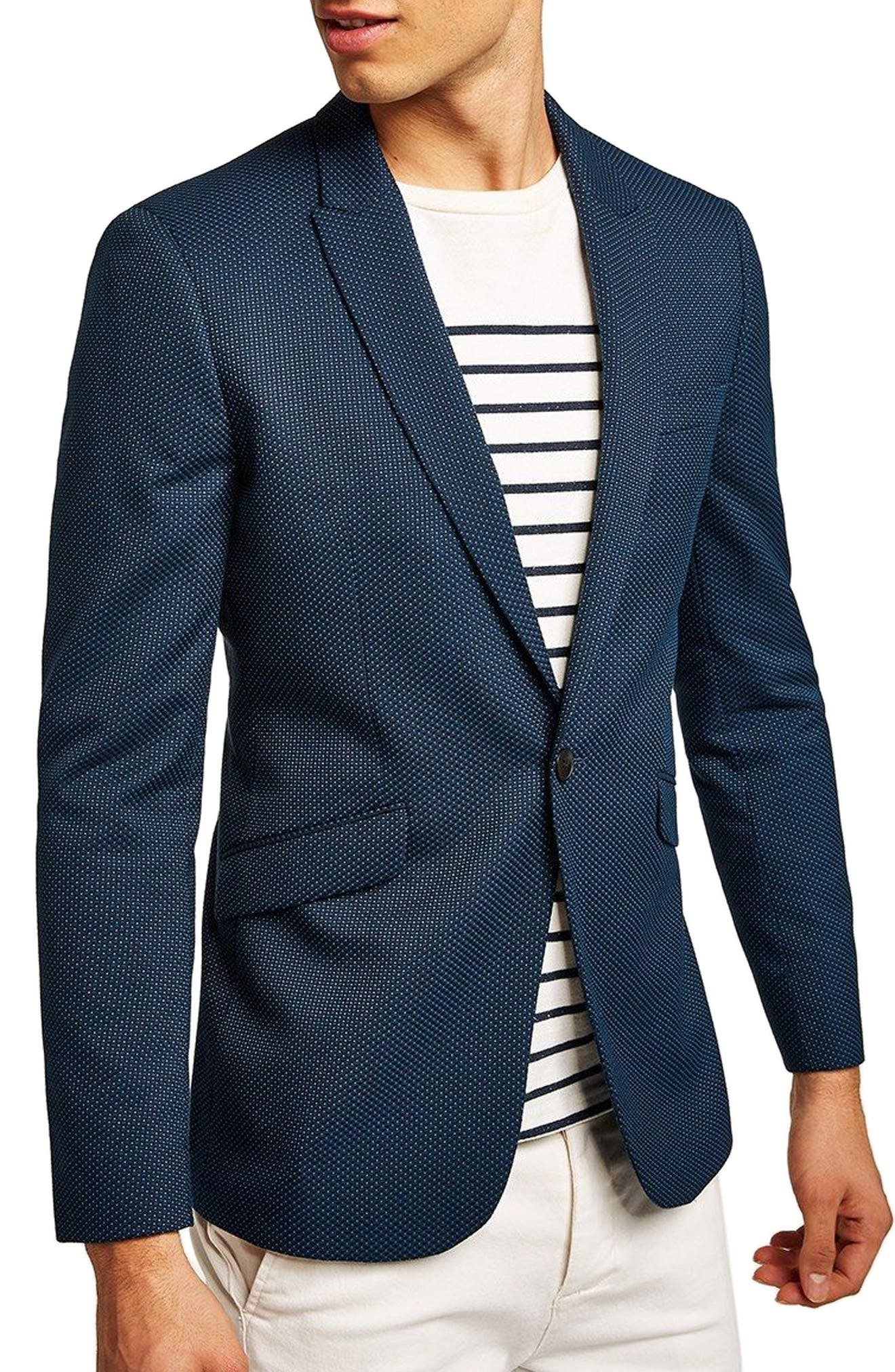 Skinny Fit Pin Dot Suit Jacket,                         Main,                         color, DARK BLUE