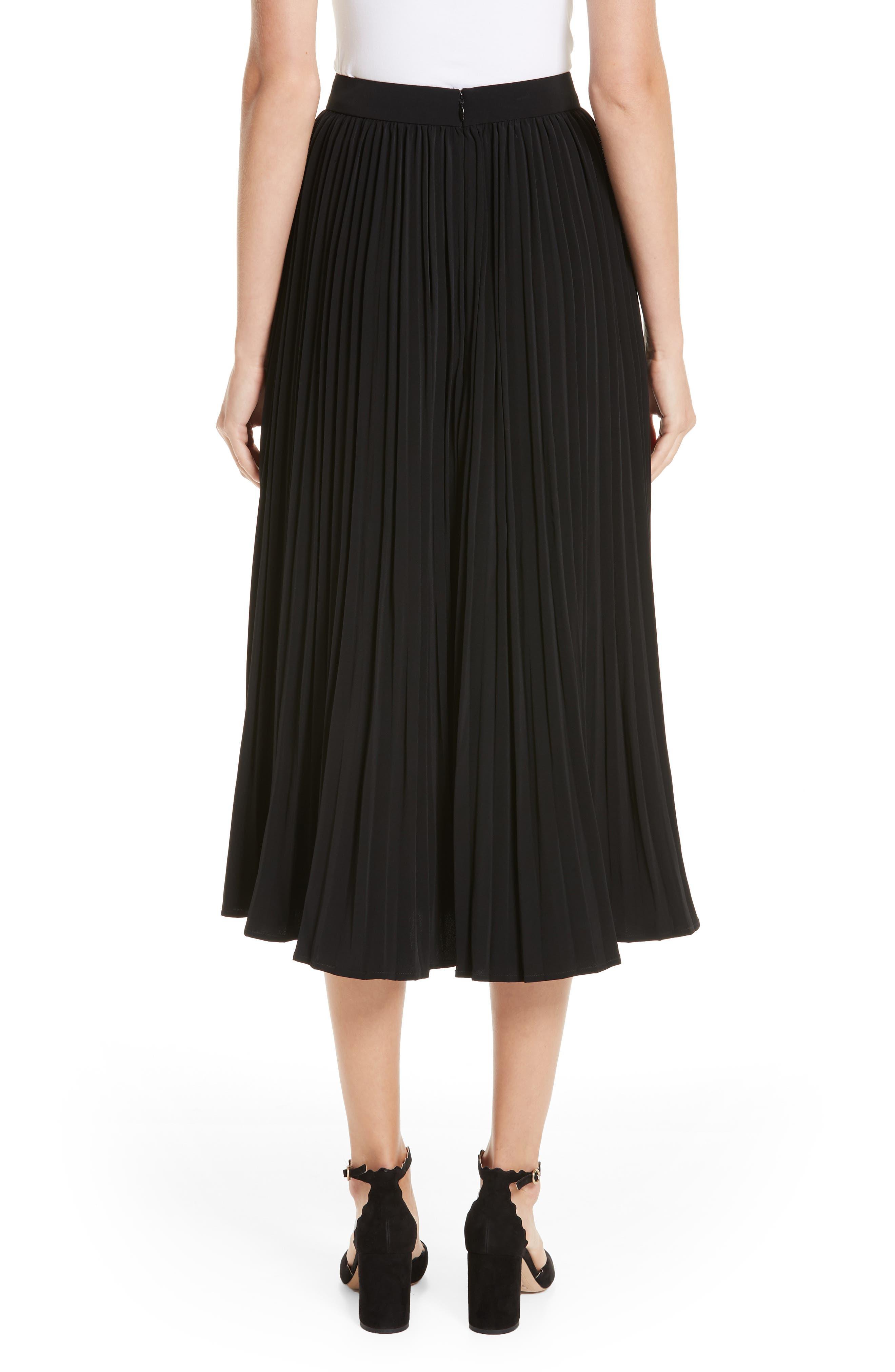 Essentials Pleated Midi Skirt,                             Alternate thumbnail 2, color,                             BLACK