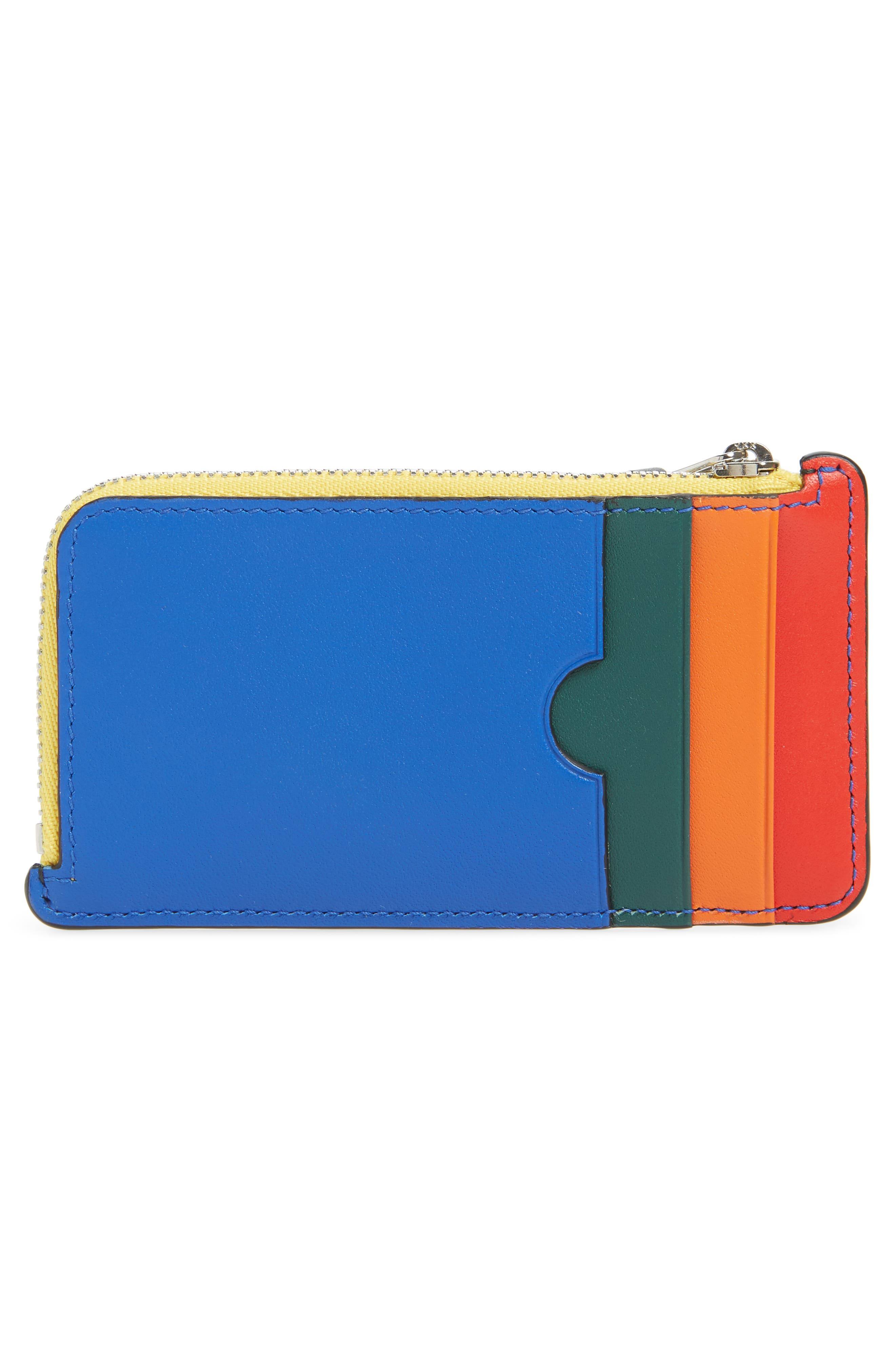 Rainbow Leather Card Case,                             Alternate thumbnail 3, color,                             BLACK MULTI